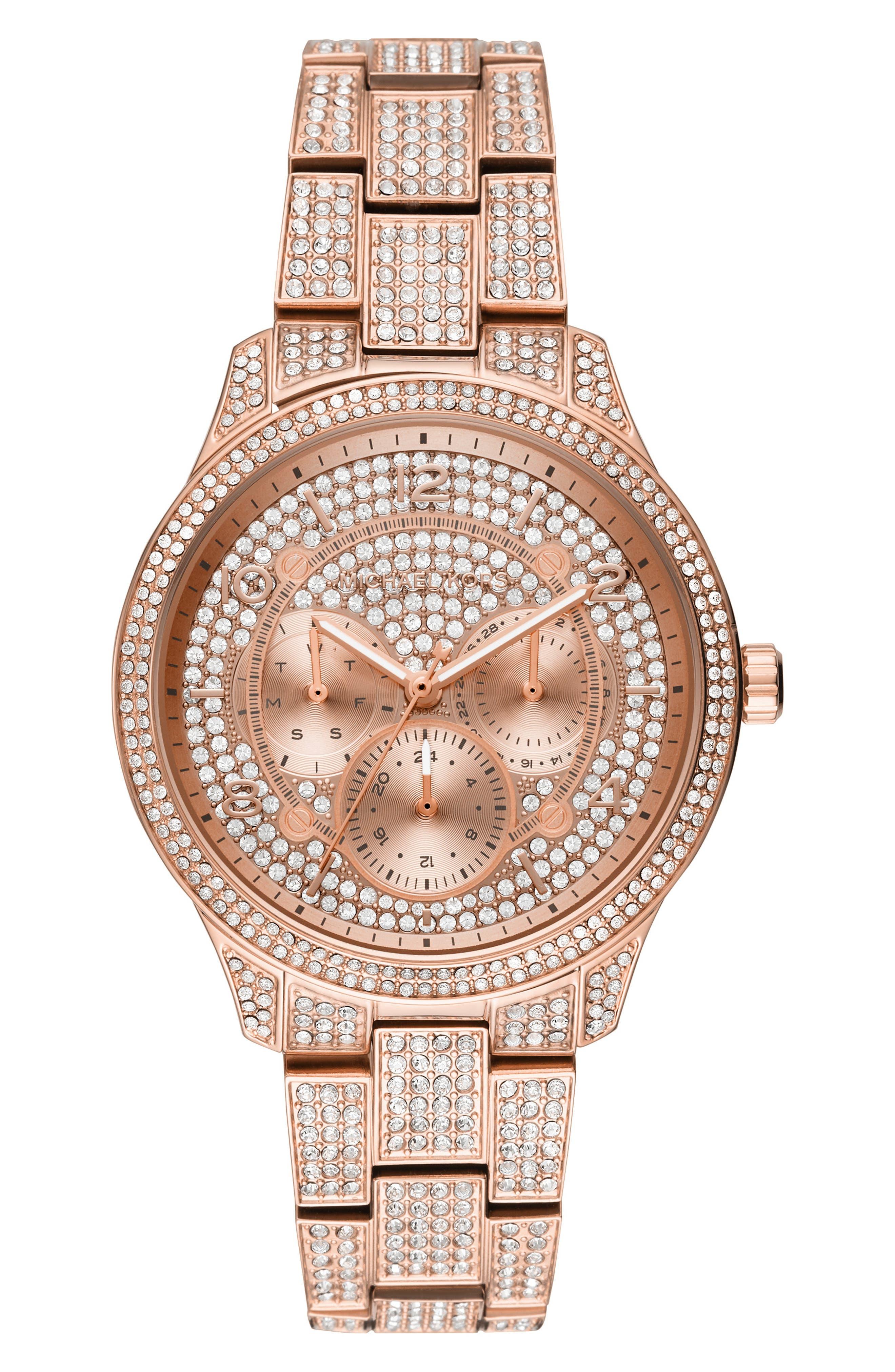 MICHAEL KORS Runway Crystal Bracelet Watch, 38mm, Main, color, ROSE GOLD