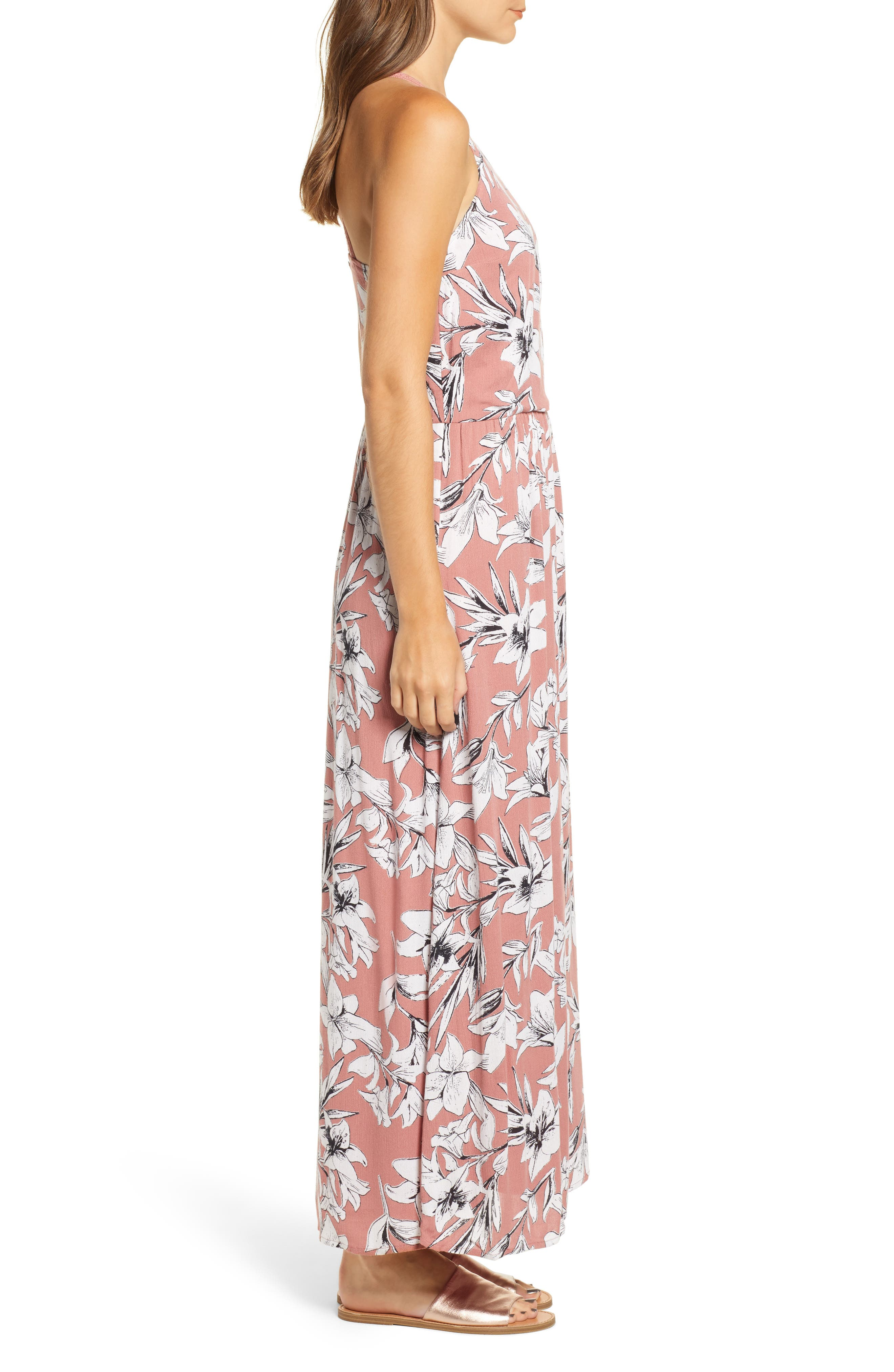 Pavement Border Maxi Dress,                             Alternate thumbnail 3, color,                             WITHERED ROSE LILY HOUSE