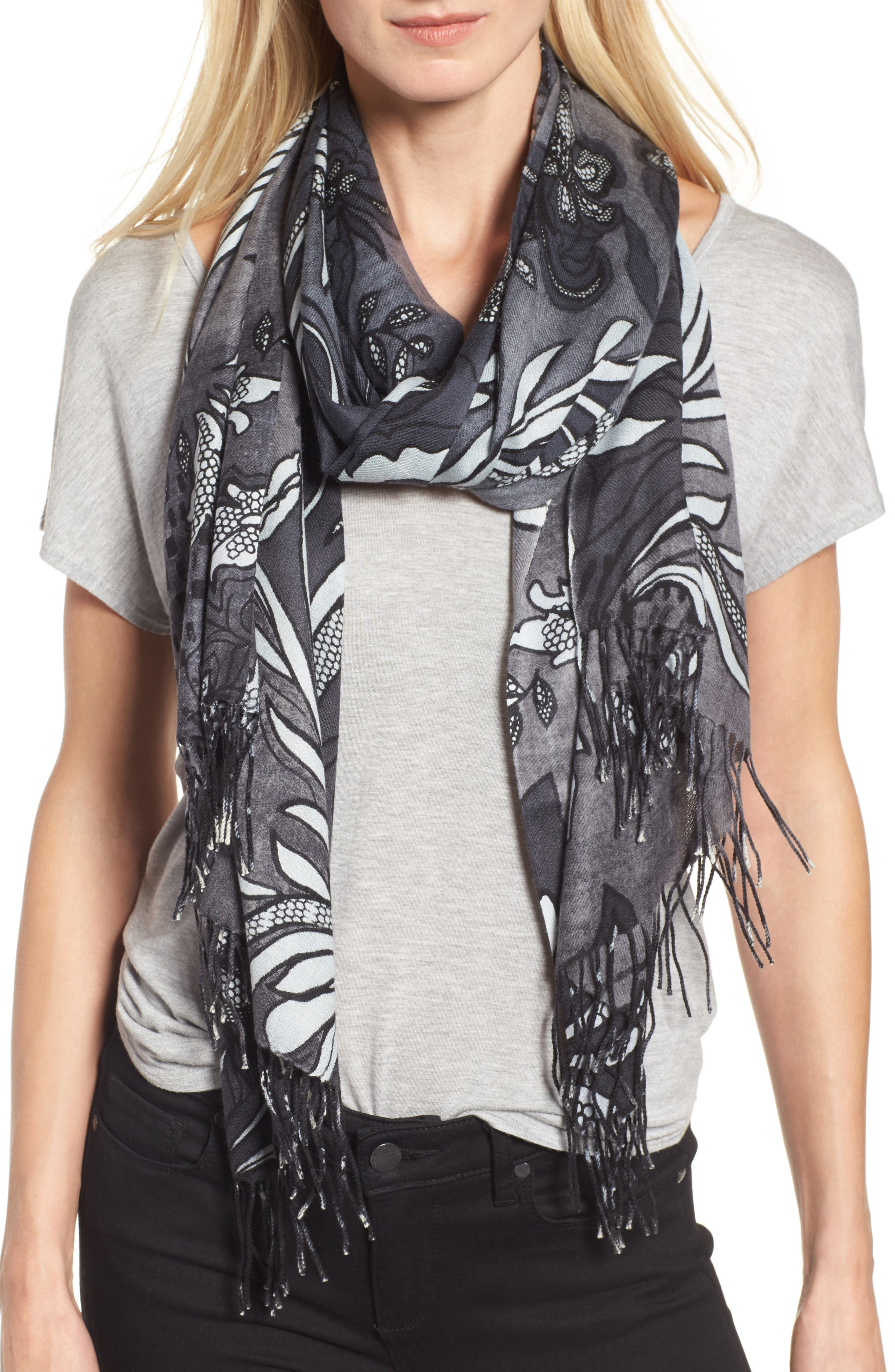 Viennese Floral Tissue Wool & Cashmere Scarf,                             Main thumbnail 1, color,                             001