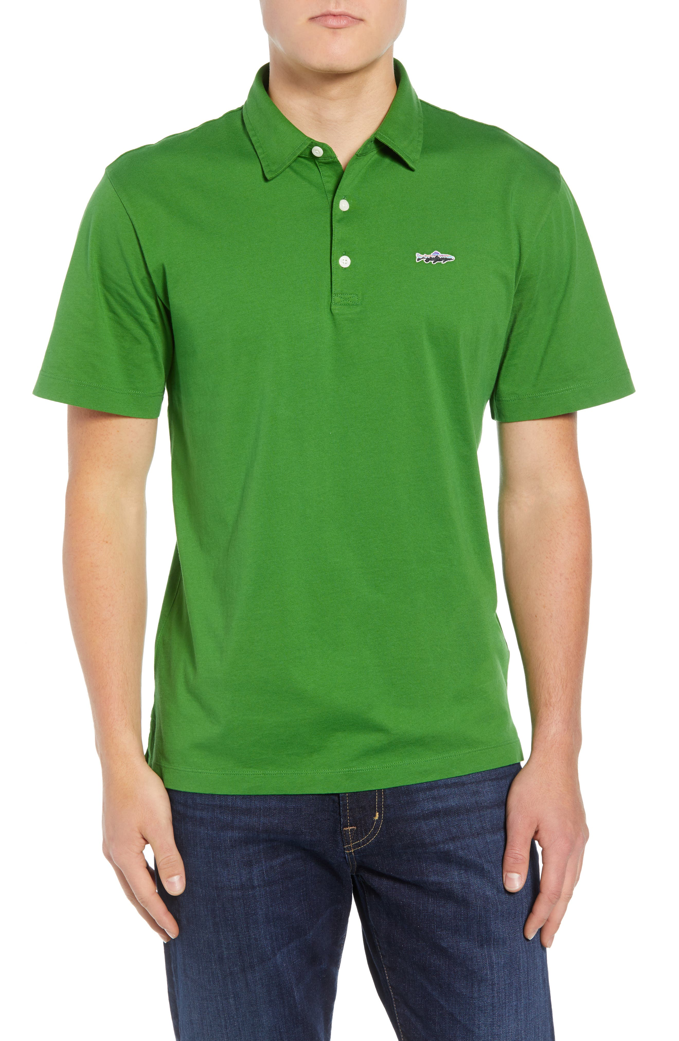 'Trout Fitz Roy' Organic Cotton Polo,                         Main,                         color, MYRTLE GREEN