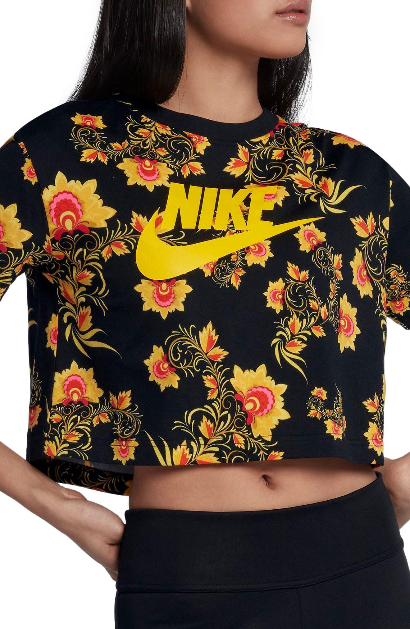 Sportswear Russian Floral Print Crop Tee,                         Main,                         color, 010