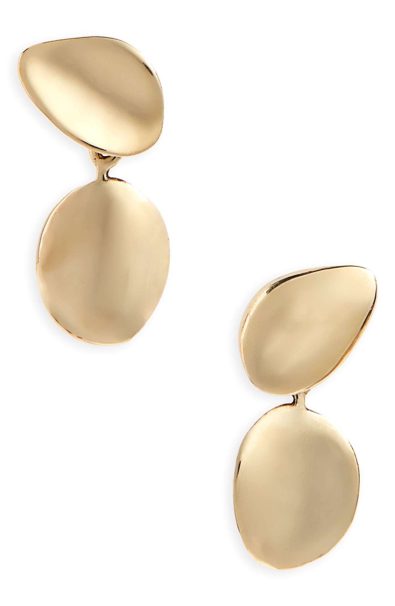 Petal Drop Earrings,                         Main,                         color, BRONZE