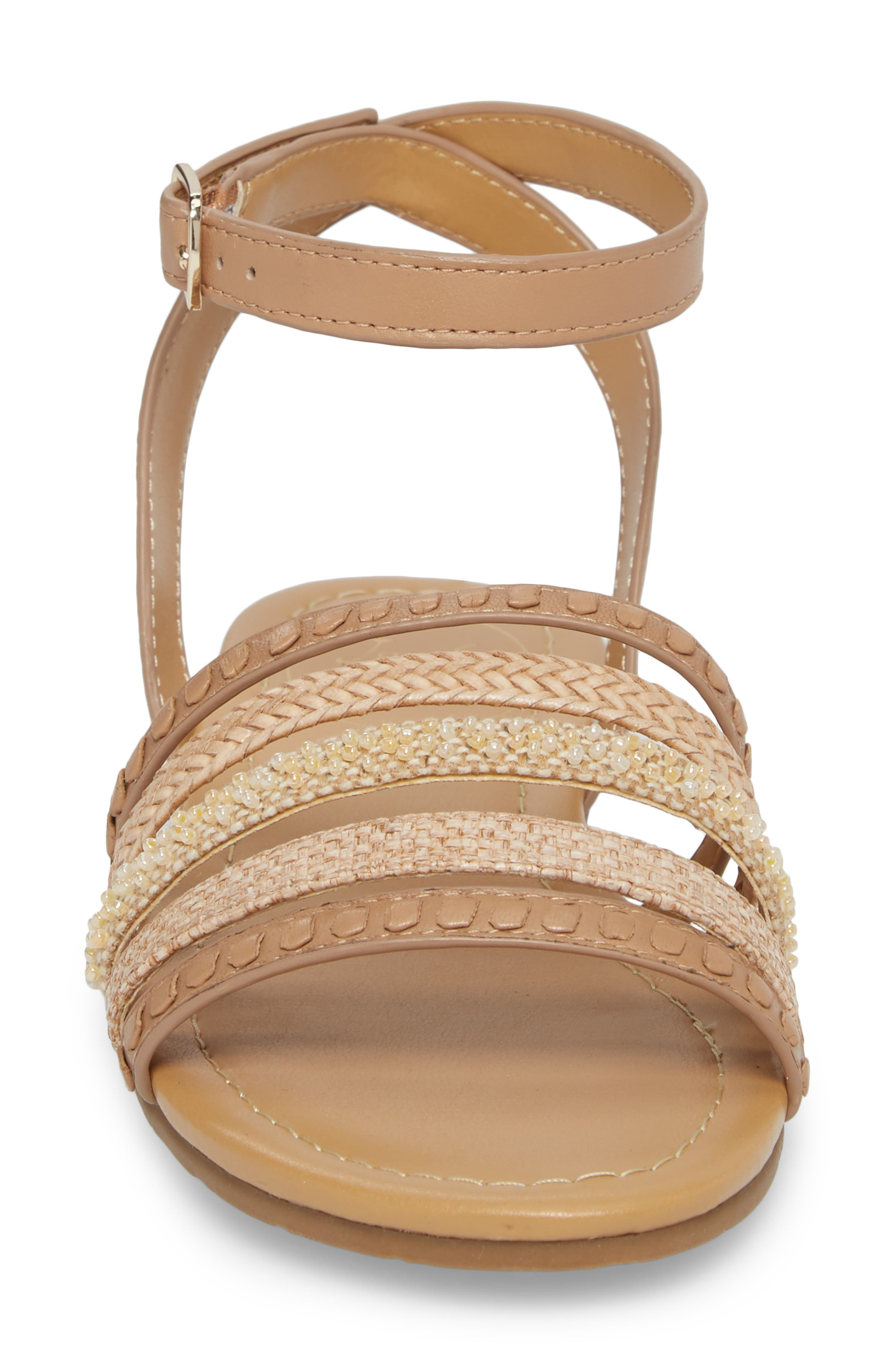 Hannah Braided Embellished Sandal,                             Alternate thumbnail 4, color,                             BUFF LEATHER