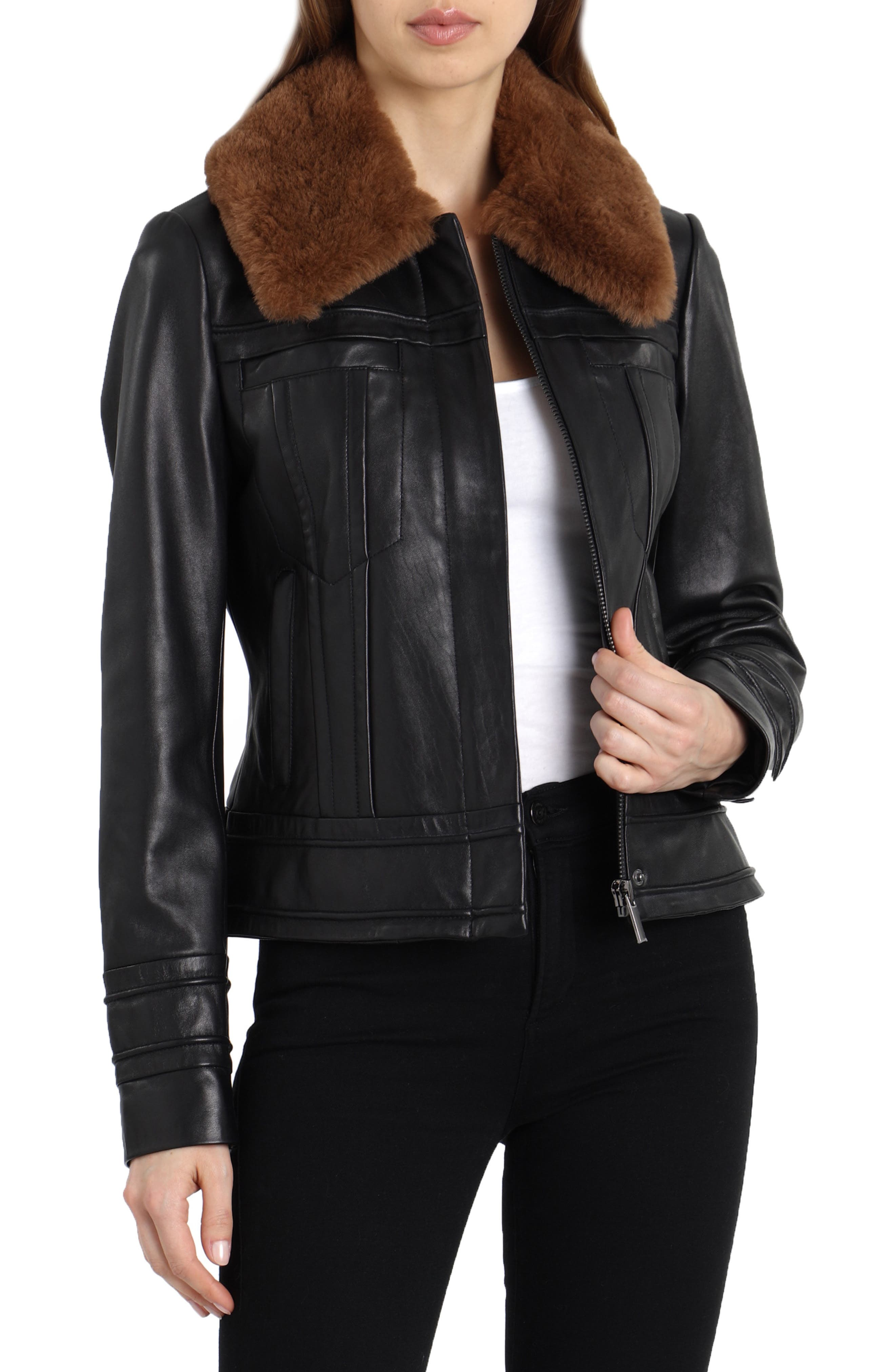 Badgley Mischka Leather Aviator Jacket With Genuine Shearling