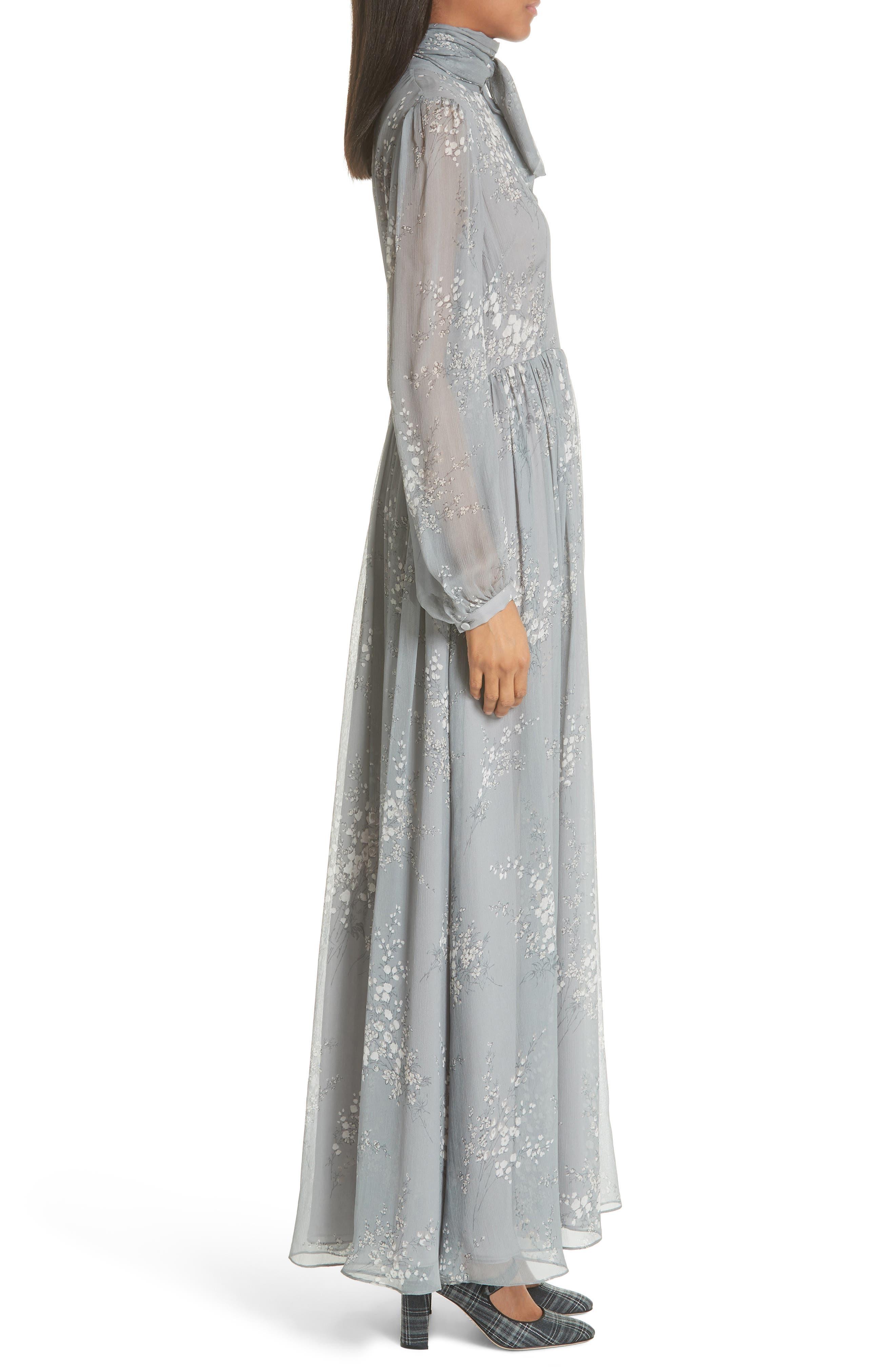 Floral Print Crinkle Chiffon Tie Neck Dress,                             Alternate thumbnail 3, color,                             GREY