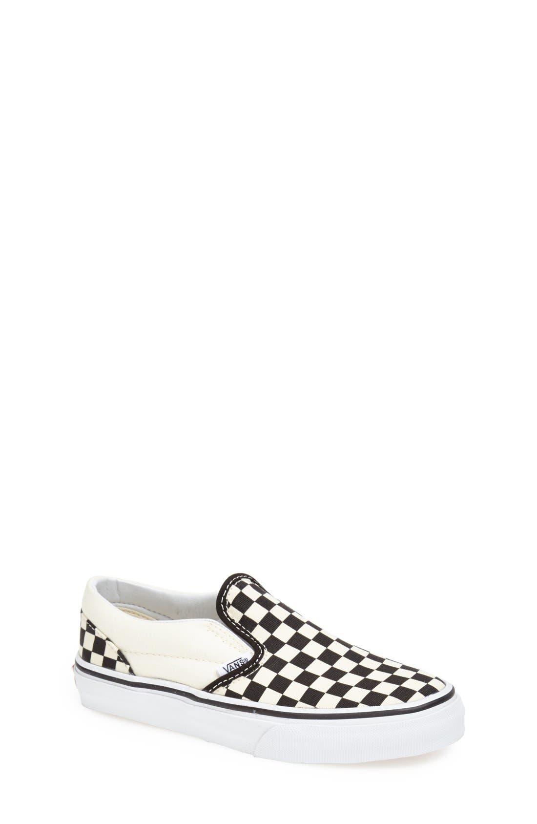 'Classic - Checkerboard' Slip-On,                             Main thumbnail 1, color,                             BLACK/ WHITE CHECKERBOARD