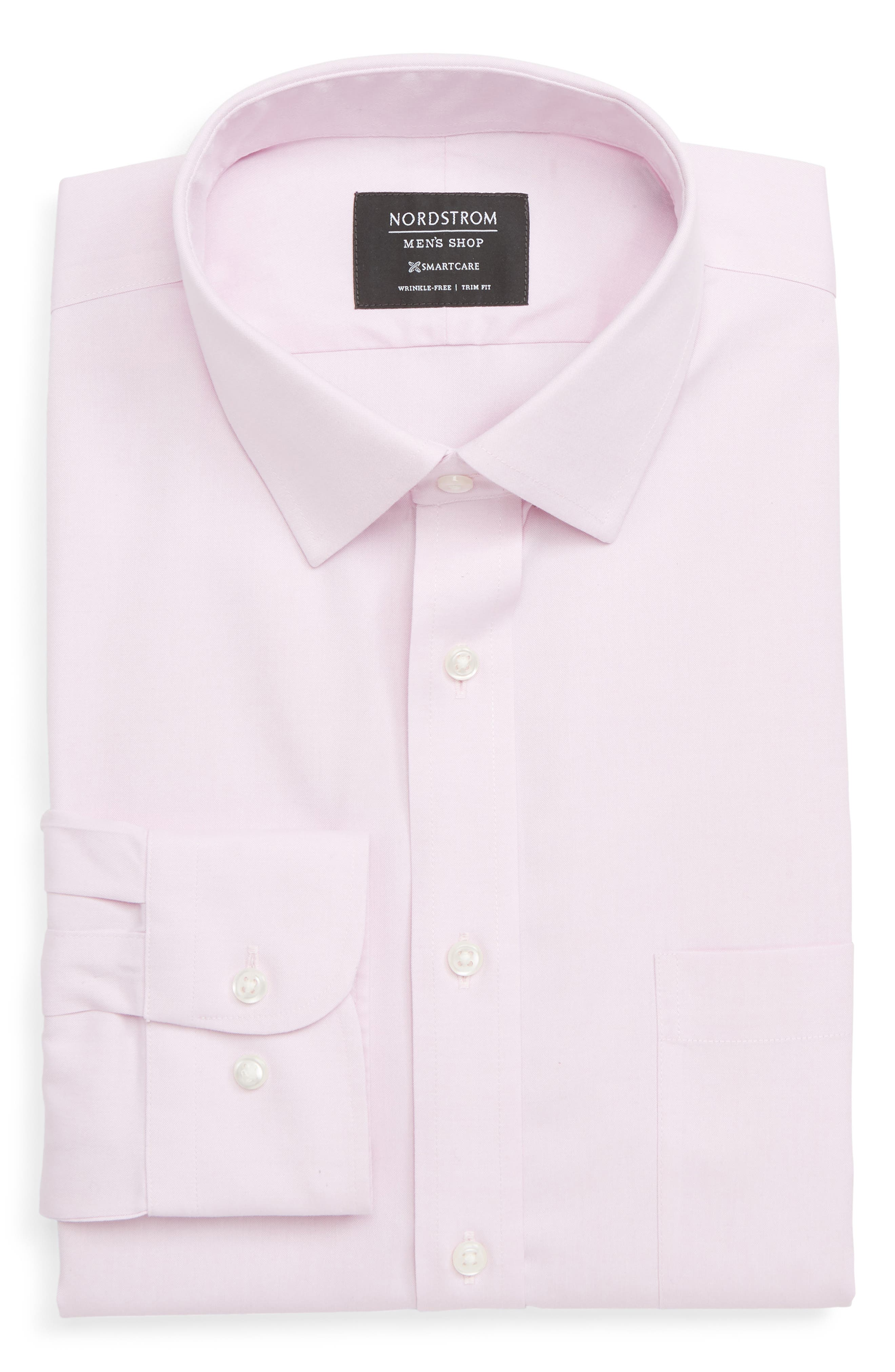 Nordstrom Shop Smartcare(TM) Trim Fit Solid Dress Shirt, 5.5 34/35 - Pink