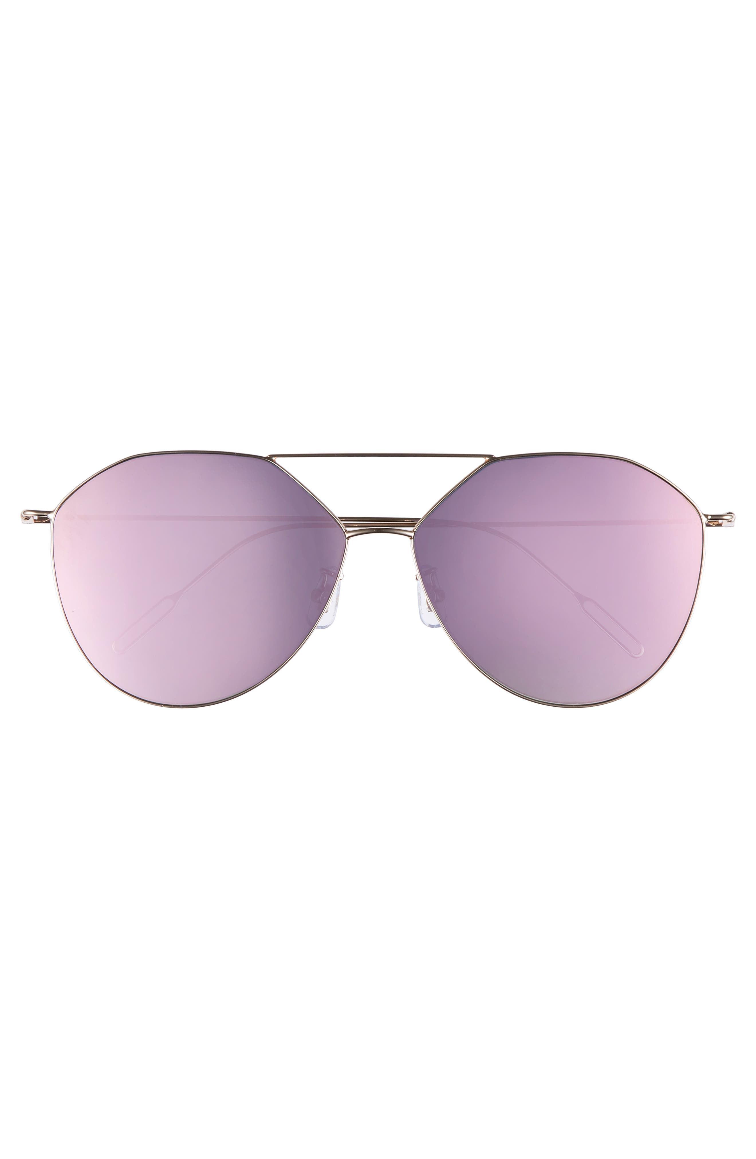 55mm Metal Aviator Sunglasses,                             Alternate thumbnail 3, color,                             GOLD /PINK MIRROR