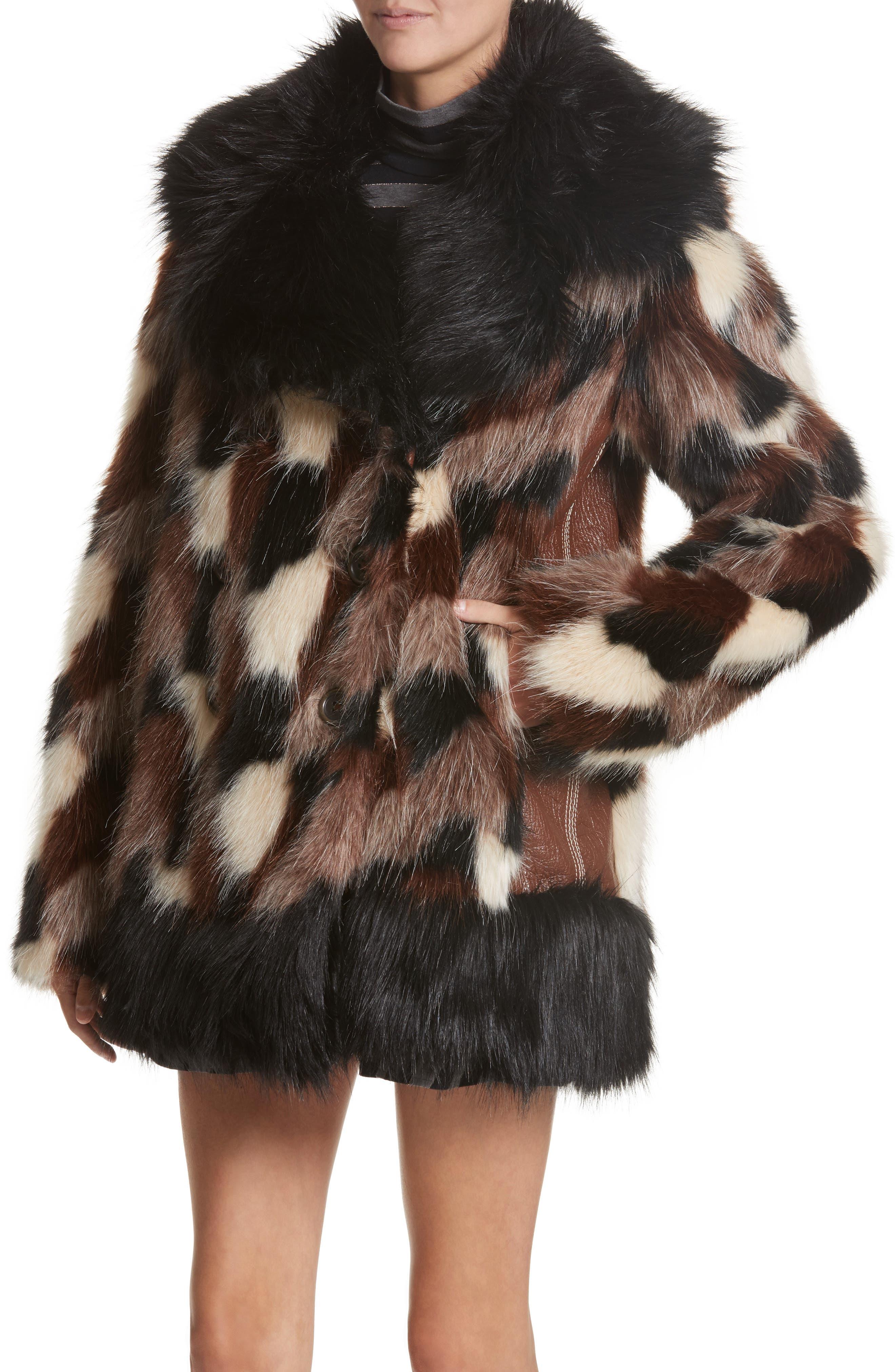 Patchwork Faux Fur Jacket,                             Alternate thumbnail 4, color,