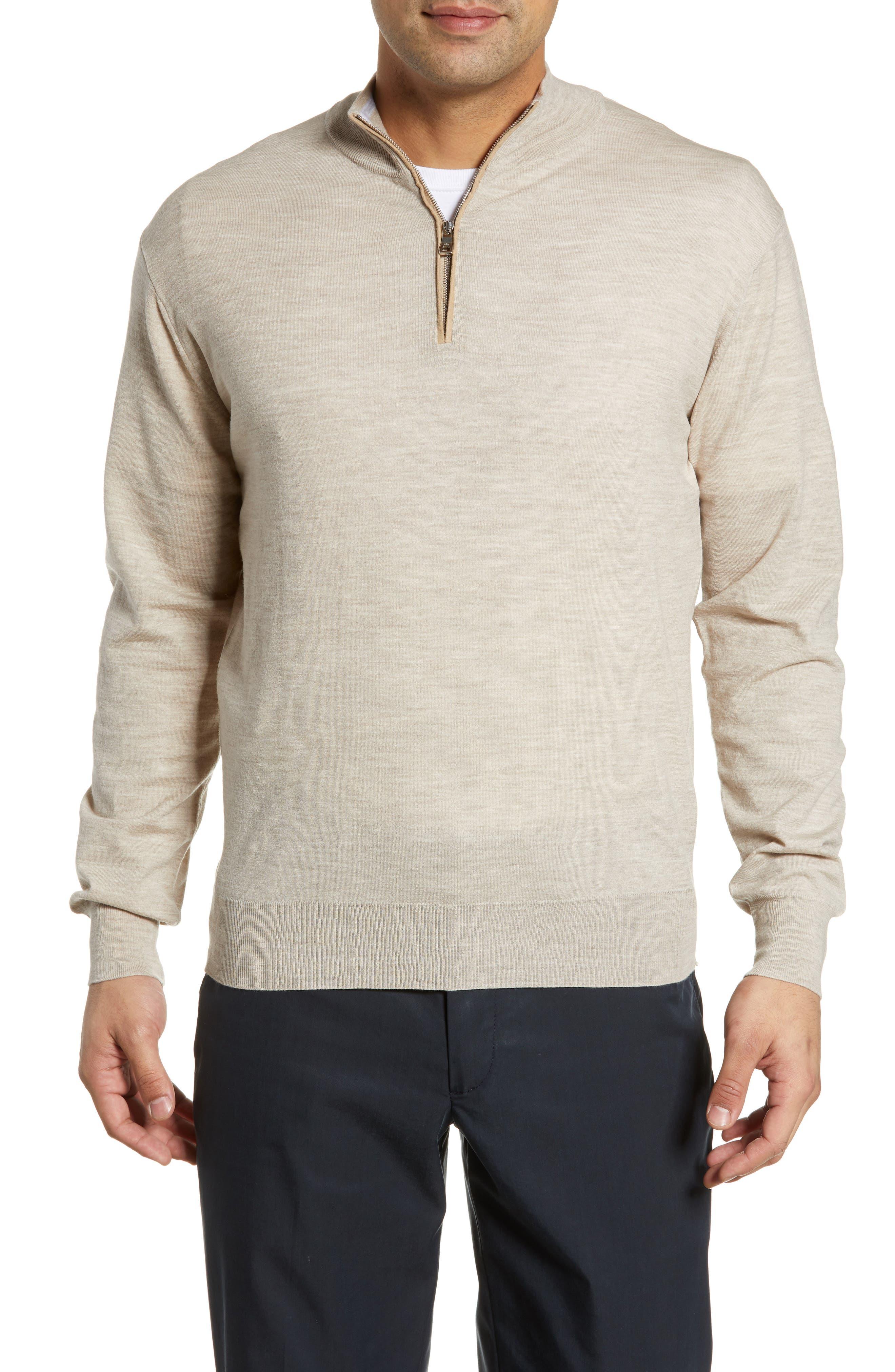 Peter Millar Collection Excursionist Flex Quarter Zip Merino Wool Pullover, Brown