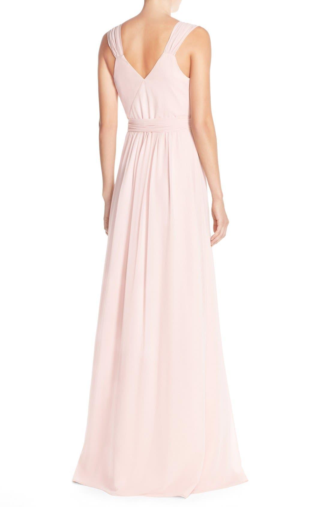 Newbury Gathered Sleeve Chiffon Wrap Gown,                             Alternate thumbnail 25, color,