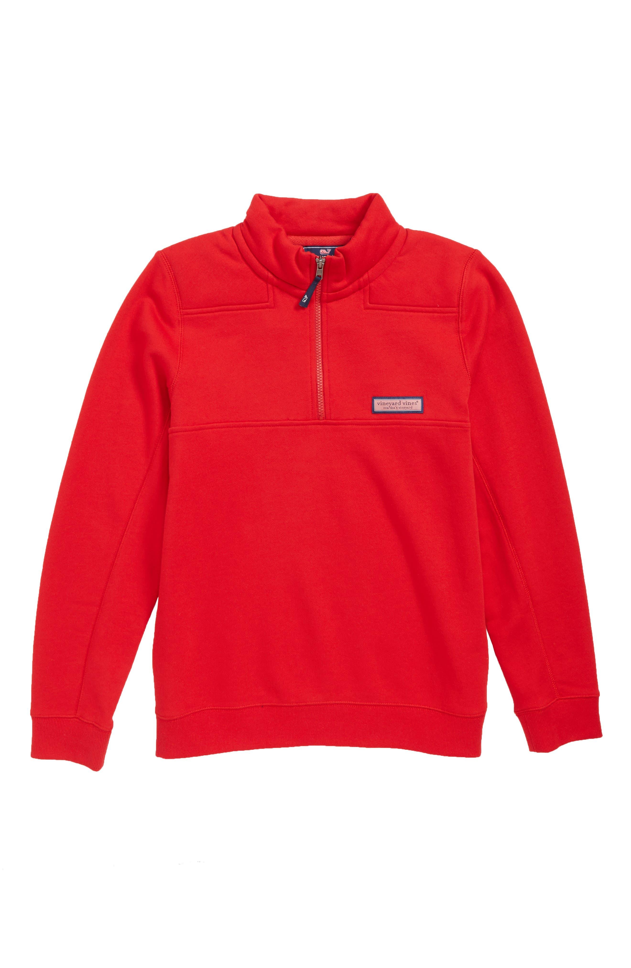 Classic Shep Quarter Zip Pullover,                             Main thumbnail 1, color,                             RED VELVET