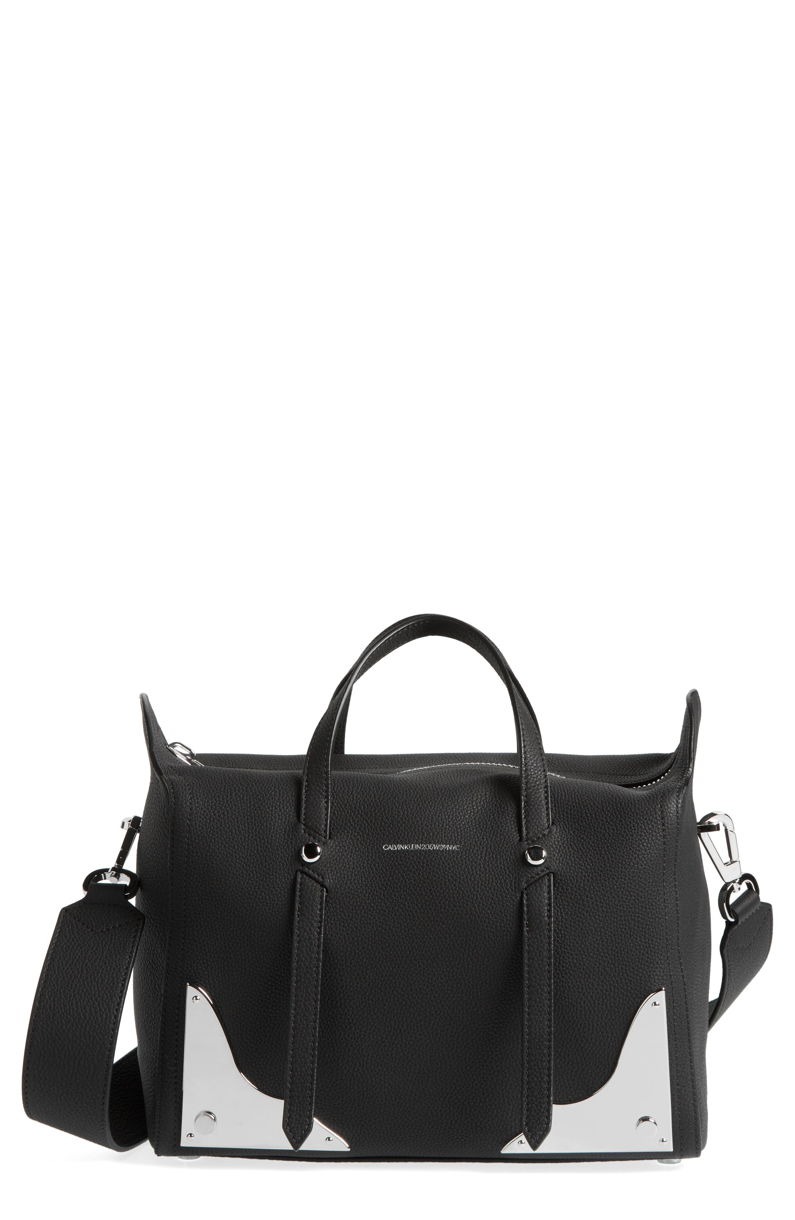 Small Calfskin Satchel,                         Main,                         color, 001