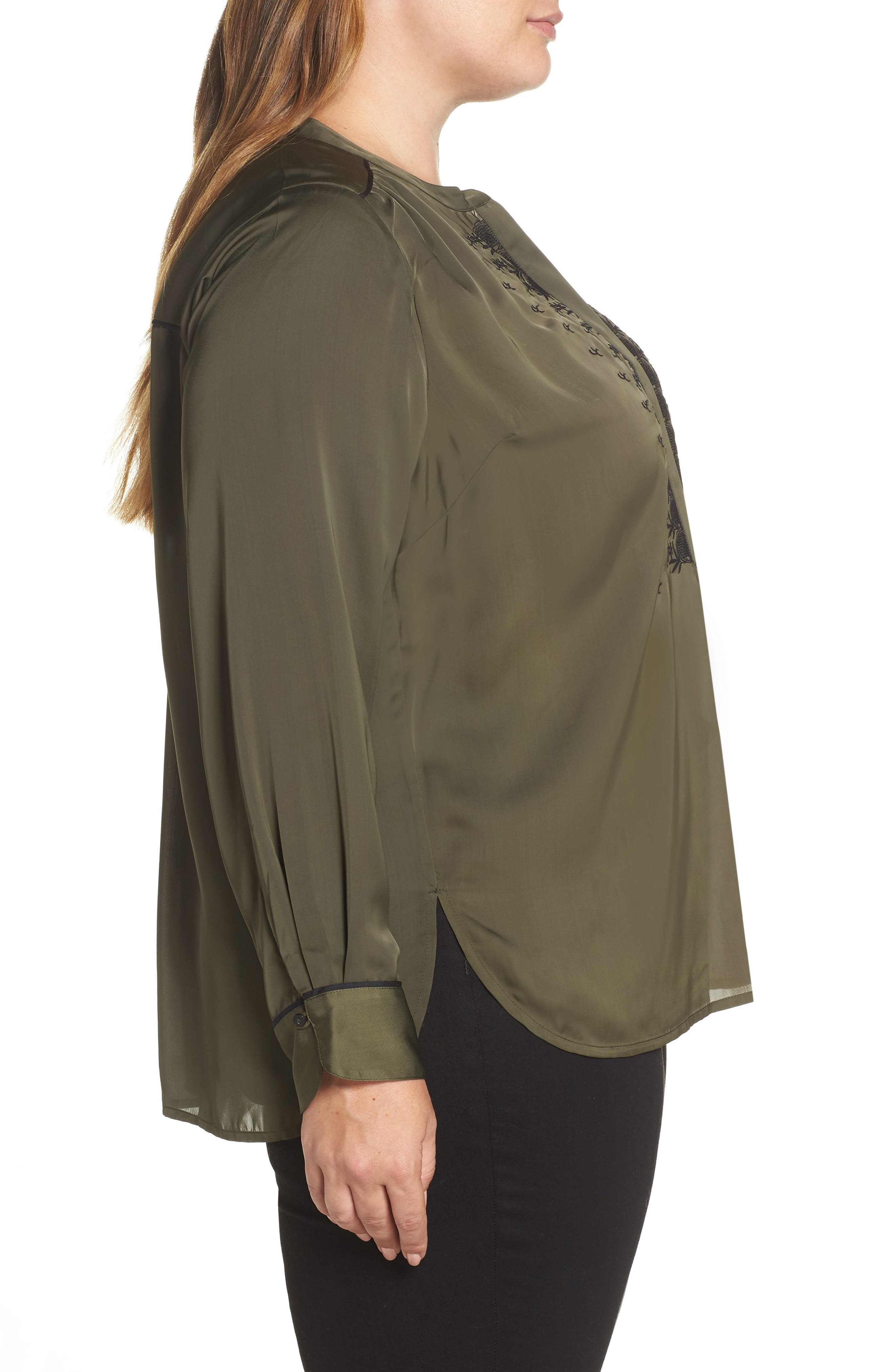 Embroidered Satin Top,                             Alternate thumbnail 3, color,                             300