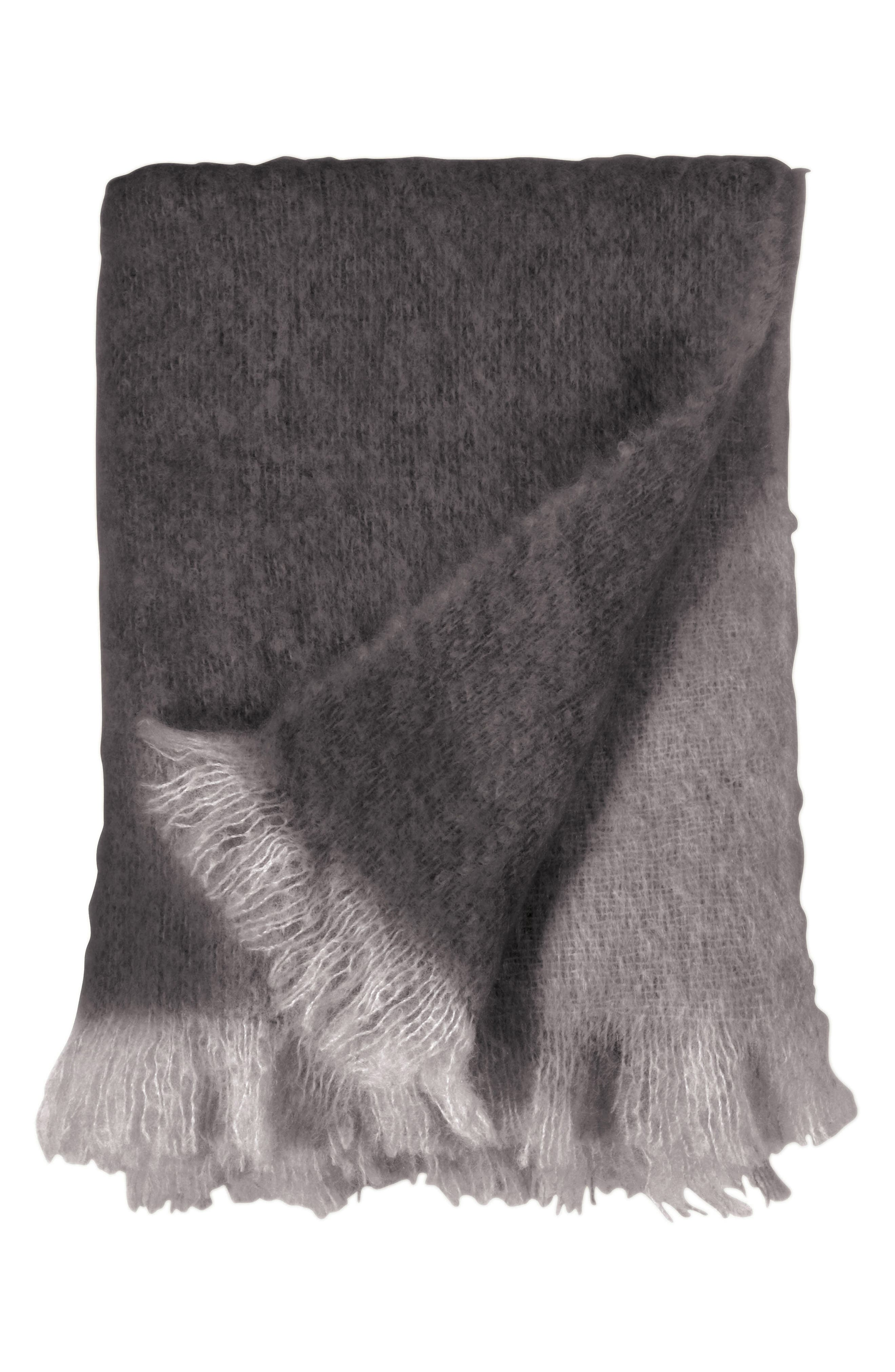 MICHAEL ARAM Mohair & Wool Throw, Main, color, CHARCOAL