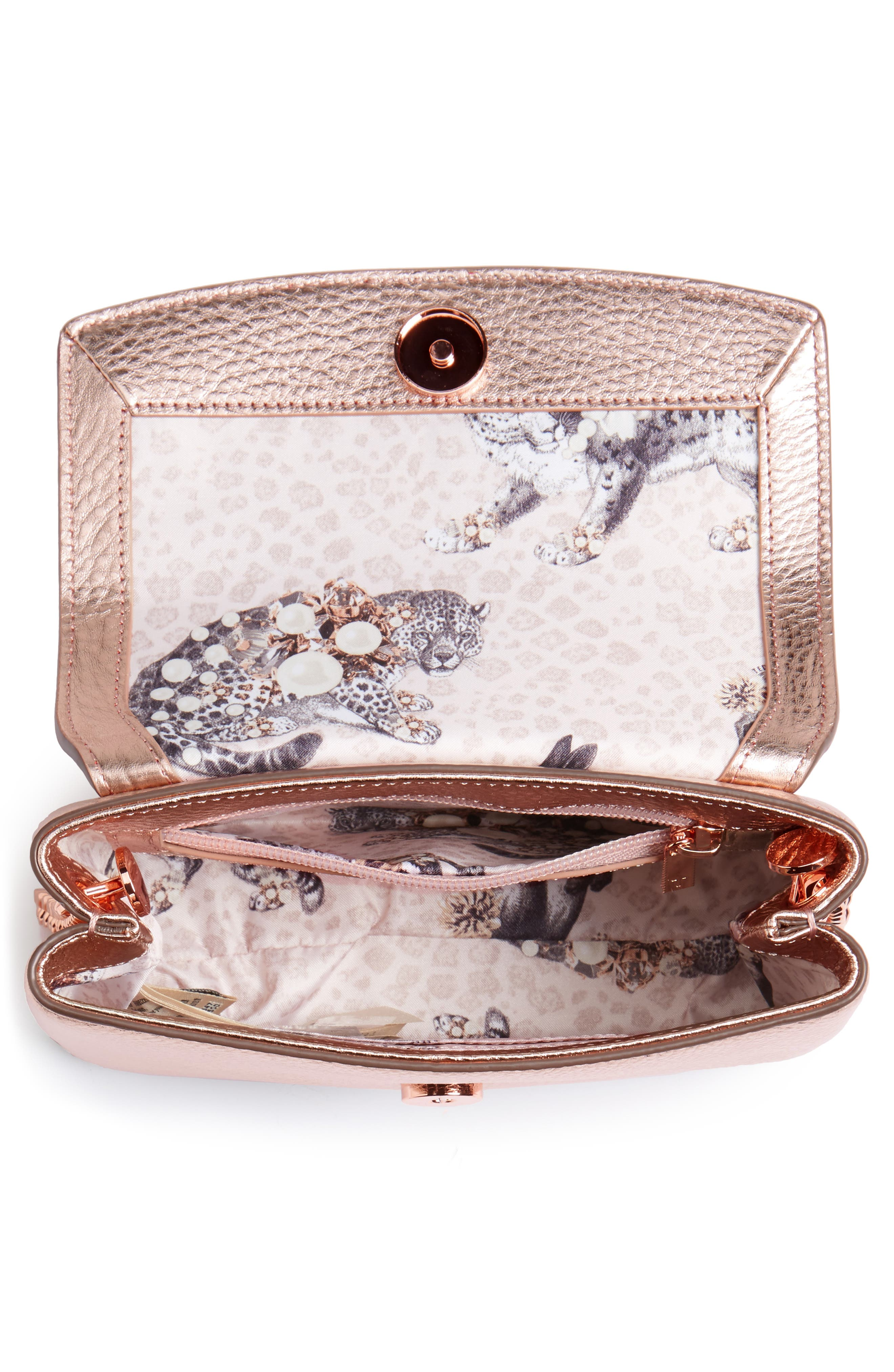 Lupiin Metallic Leather Crossbody Bag,                             Alternate thumbnail 8, color,
