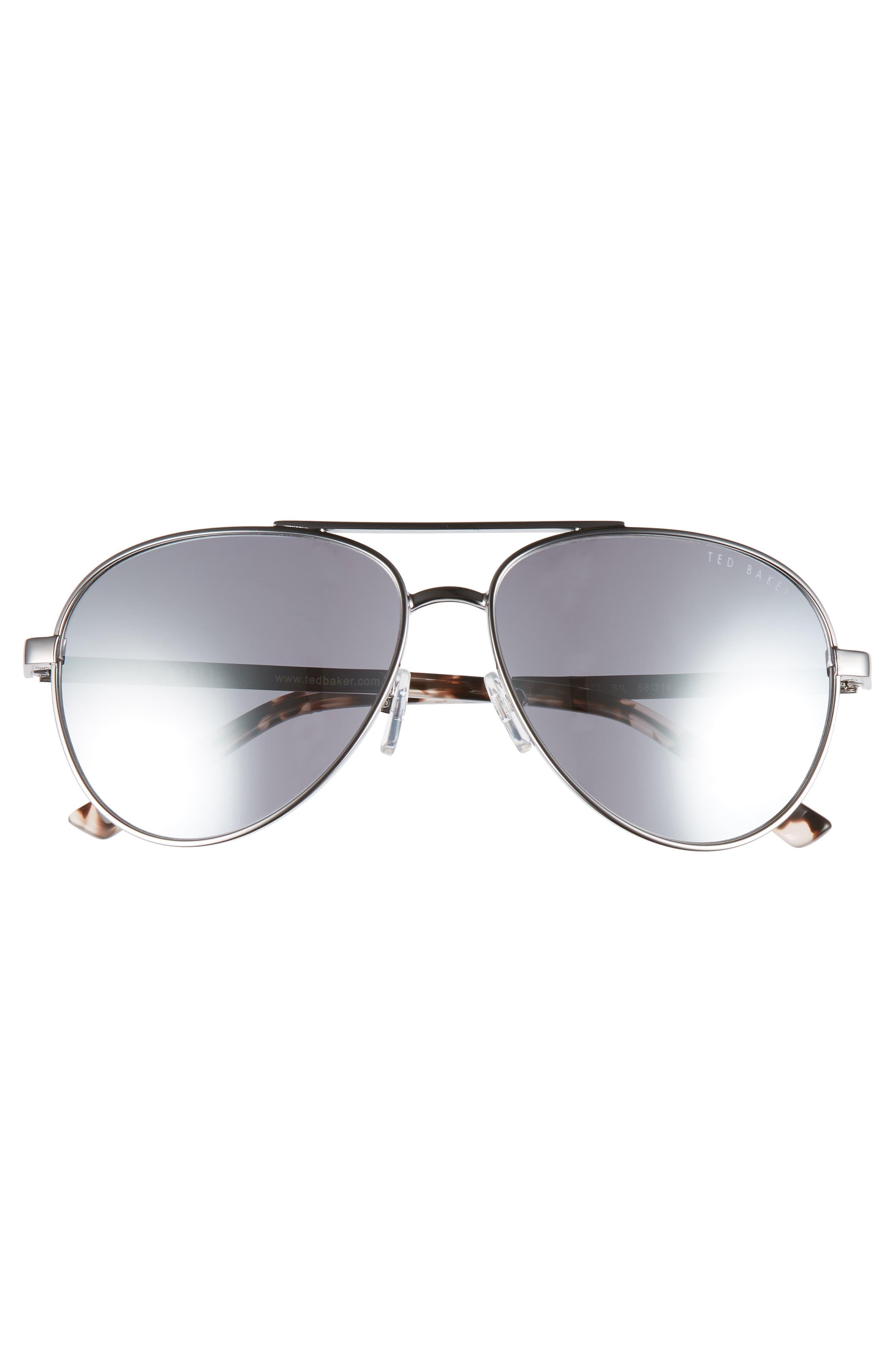 58mm Aviator Sunglasses,                             Alternate thumbnail 3, color,                             SILVER