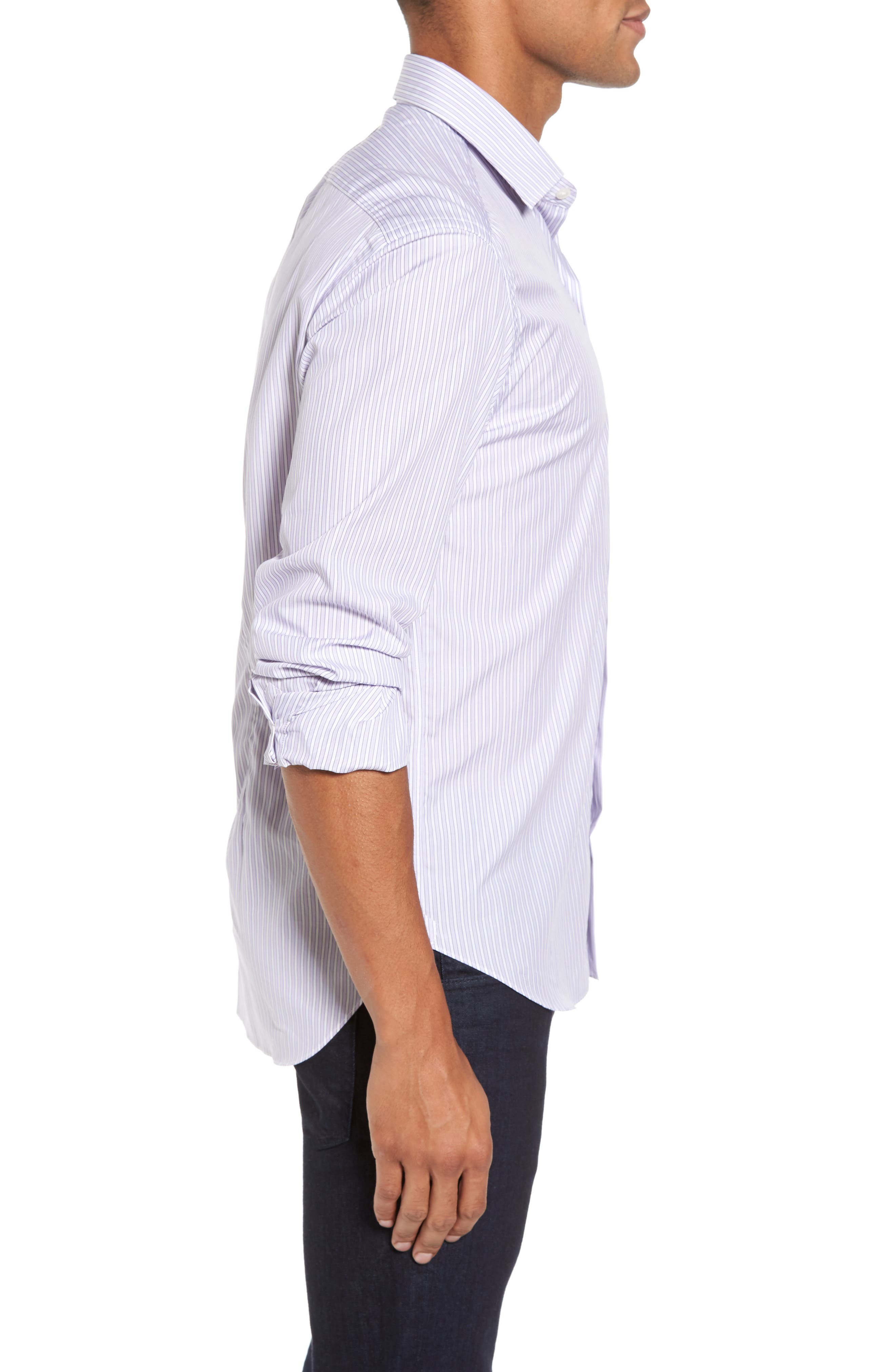 Slim Fit Perfect Stripe Sport Shirt,                             Alternate thumbnail 3, color,                             500