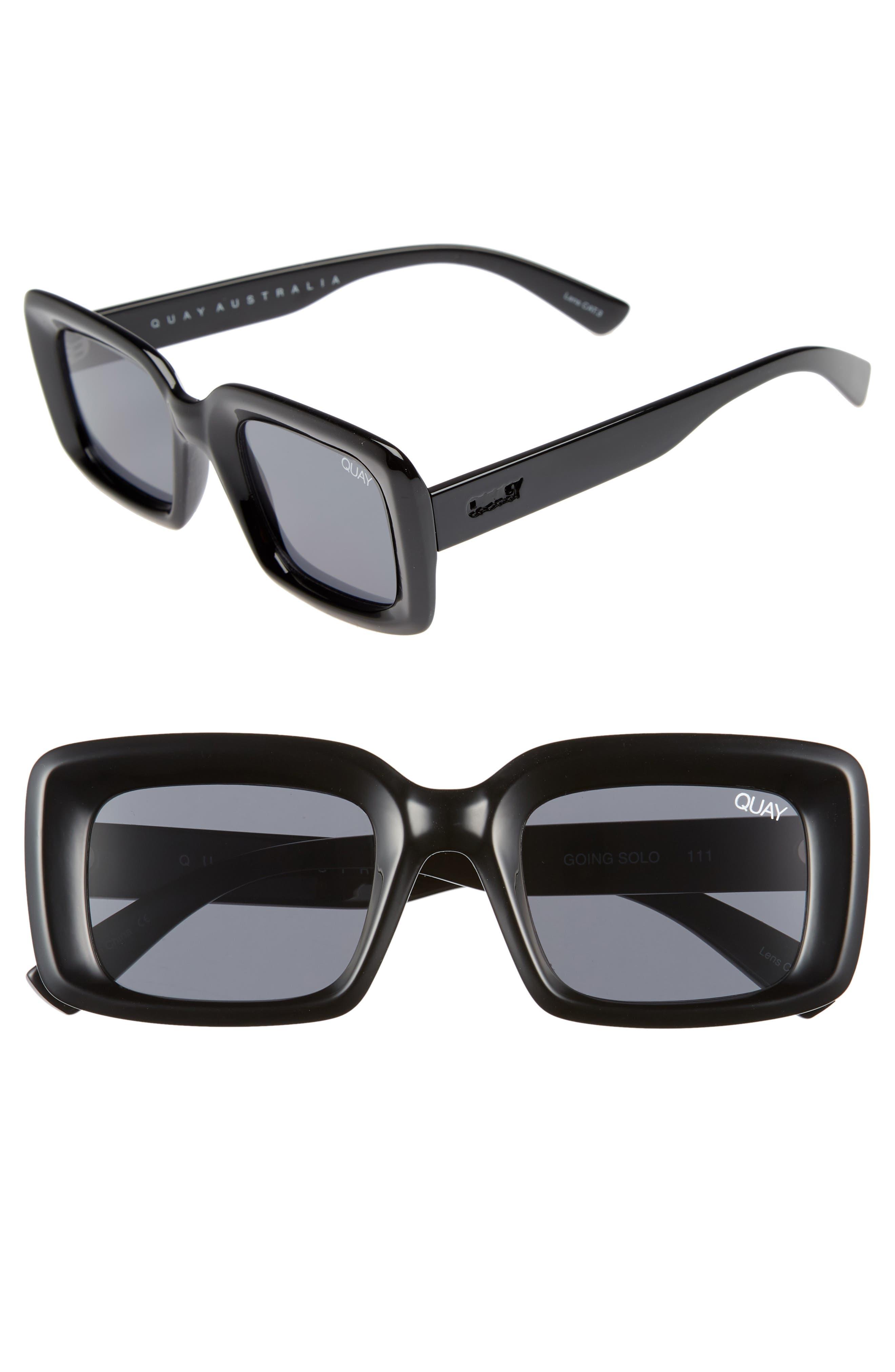 Going Solo 48mm Square Sunglasses,                             Main thumbnail 1, color,                             BLACK/ SMOKE