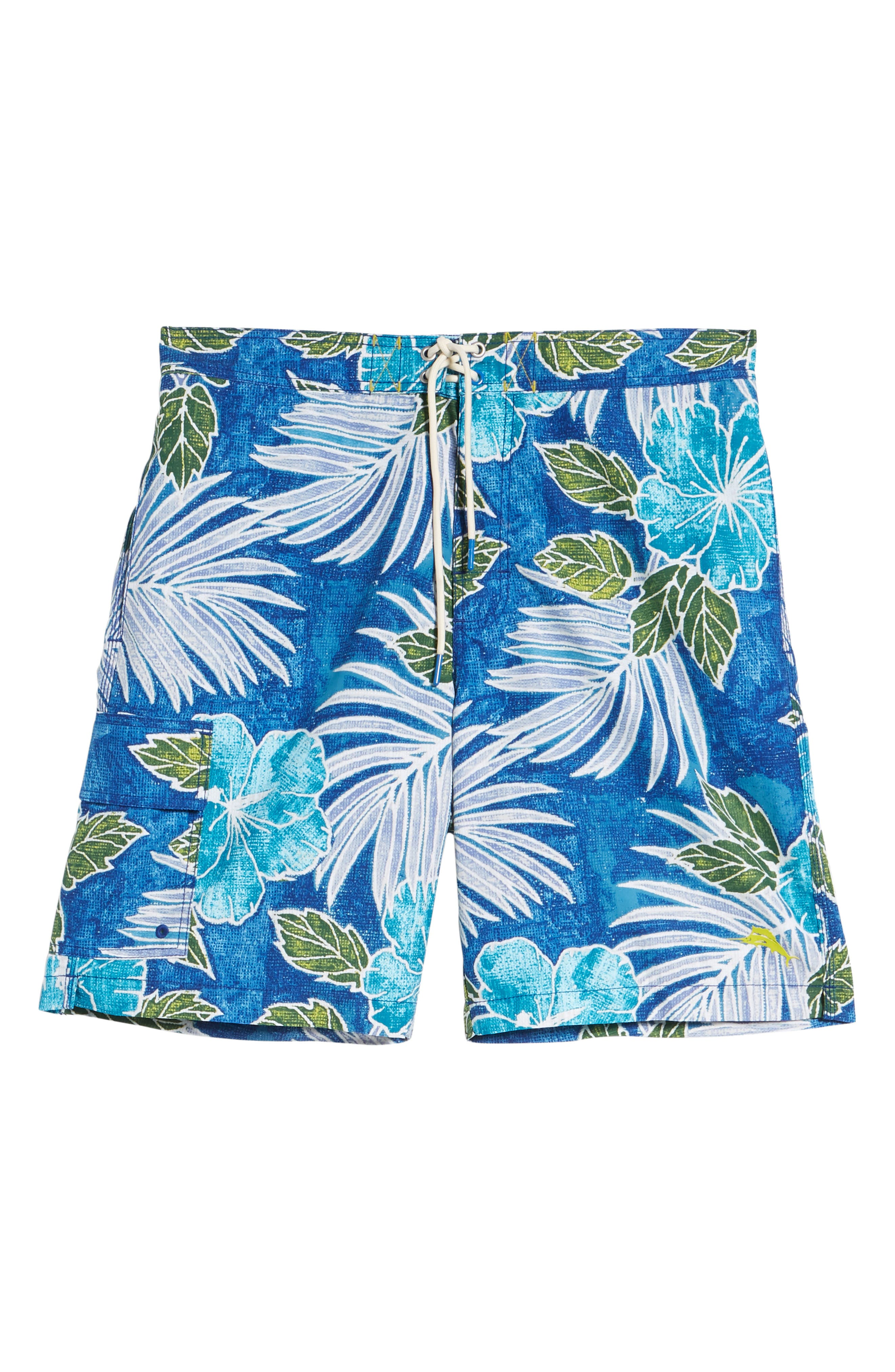 Baja Hibiscus Cove Board Shorts,                             Alternate thumbnail 6, color,                             DARK COBALT