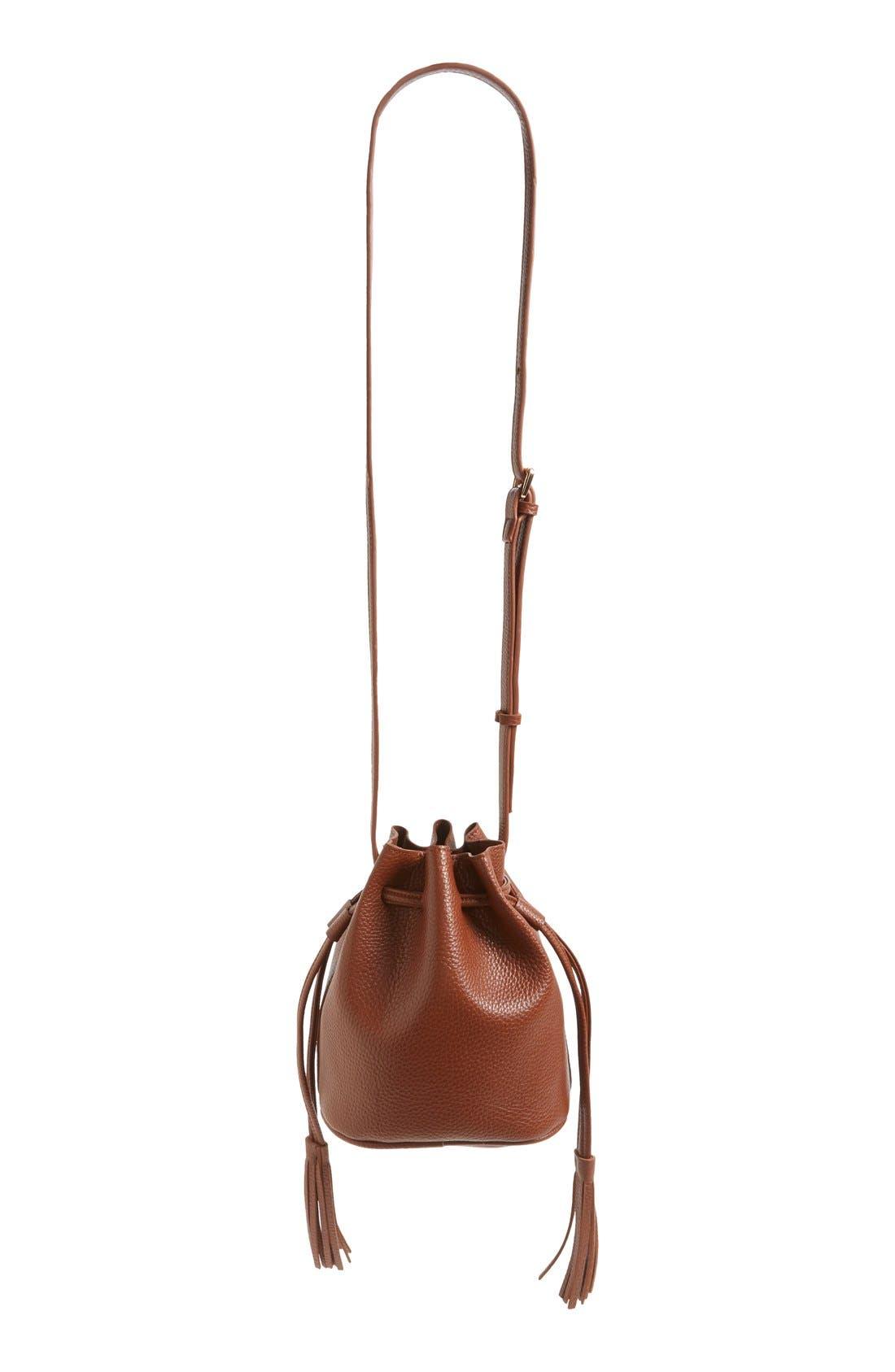 Mini Faux Leather Tassel Bucket Bag,                             Alternate thumbnail 23, color,