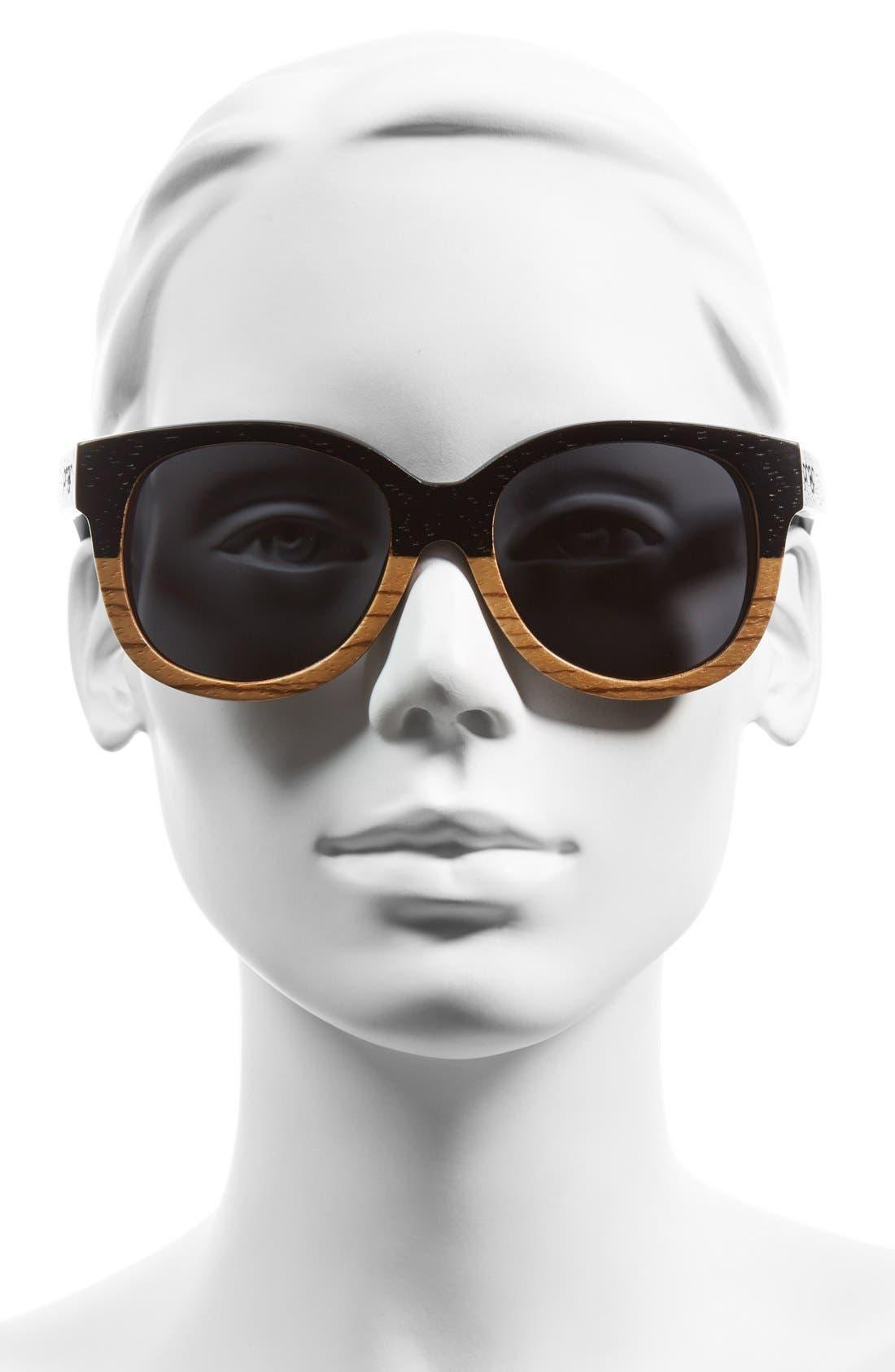 'Ivory Wood' 50mm Polarized Sunglasses,                             Alternate thumbnail 2, color,                             001