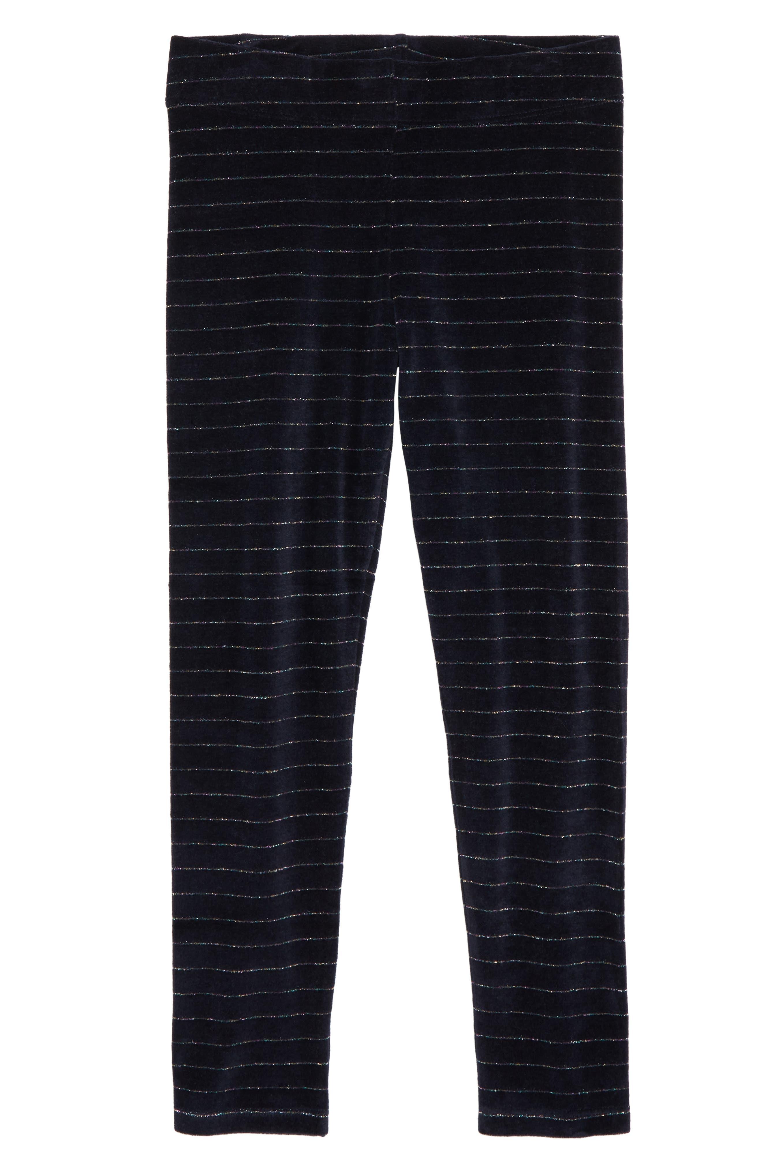 Girls Mini Boden Sparkle Velvet Leggings Size 910Y  Blue