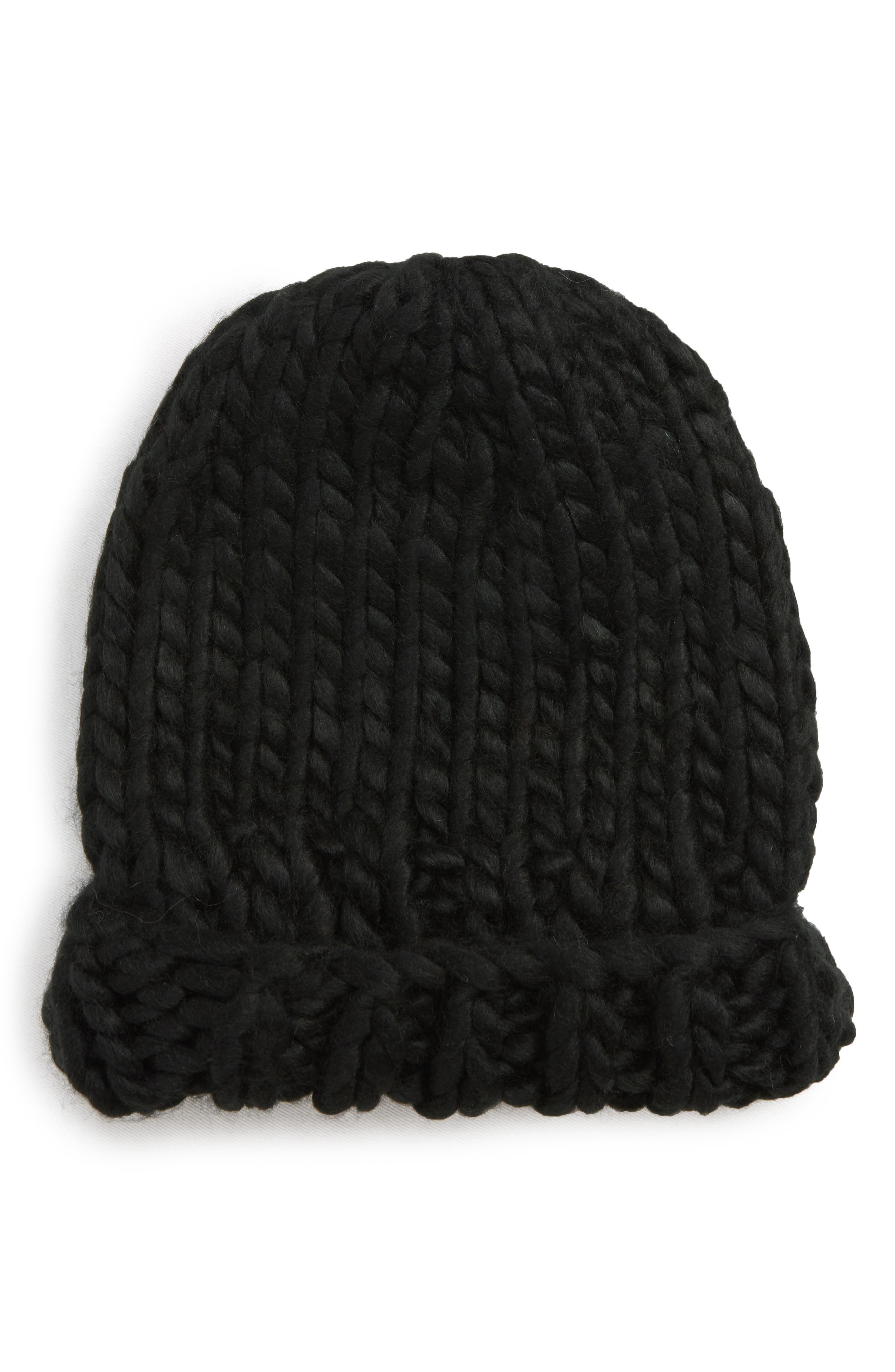 Chunky Knit Beanie,                             Main thumbnail 1, color,                             BLACK
