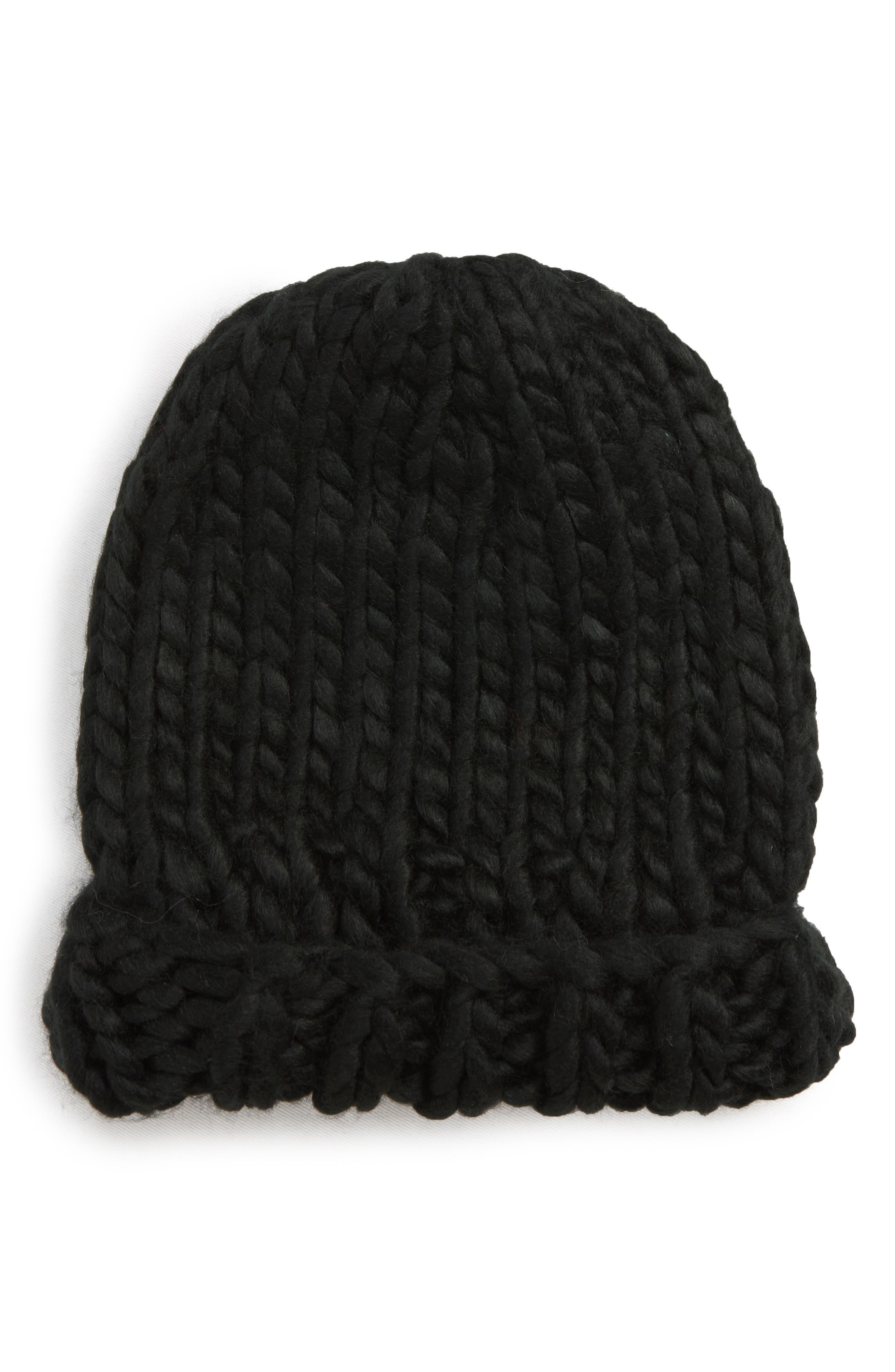 Chunky Knit Beanie,                         Main,                         color, BLACK