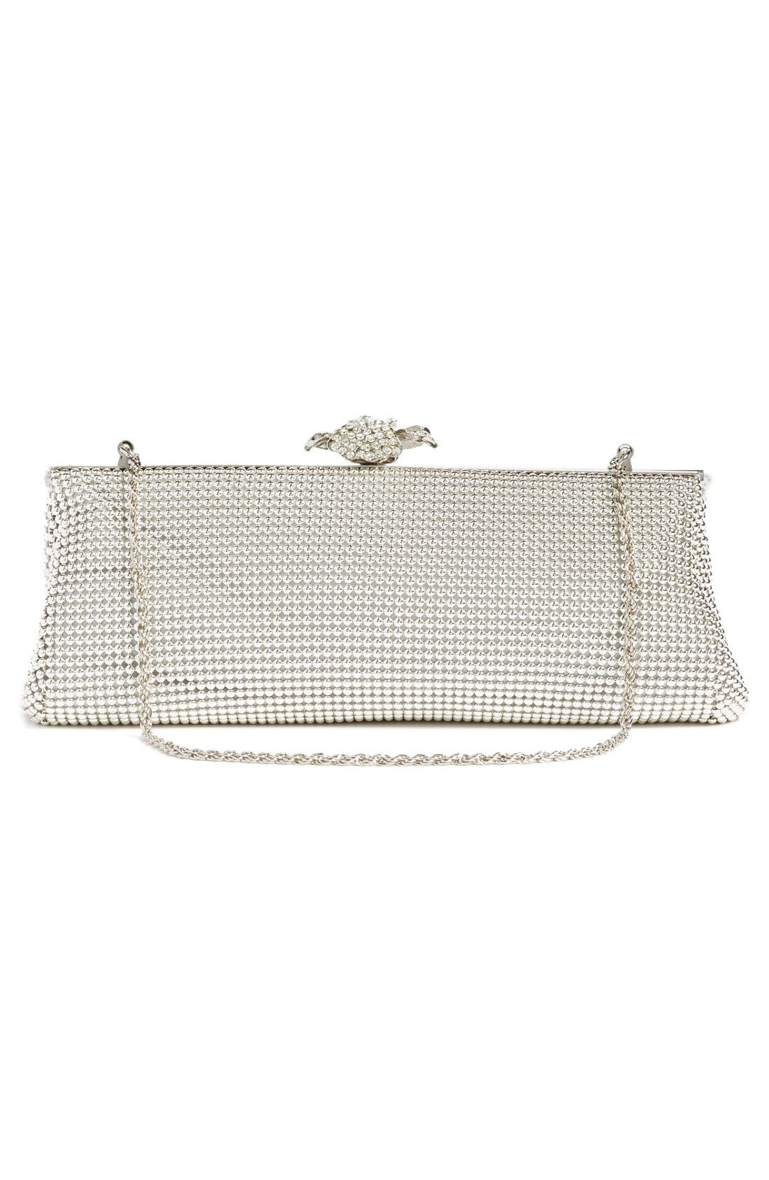 'Crystal Flower' Metal Mesh Clutch,                             Alternate thumbnail 3, color,                             SILVER