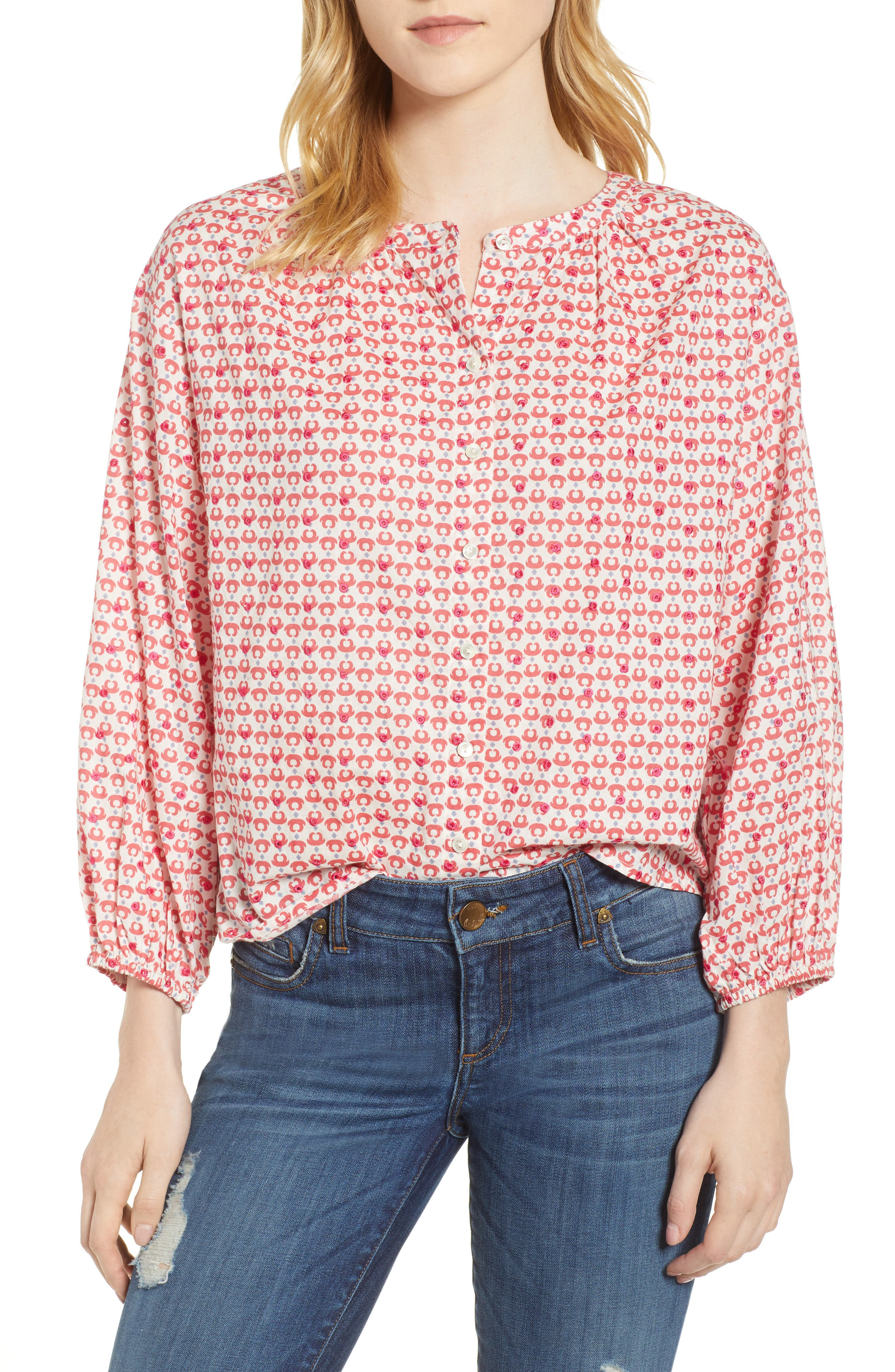 Embroidered Print Blouse,                         Main,                         color,
