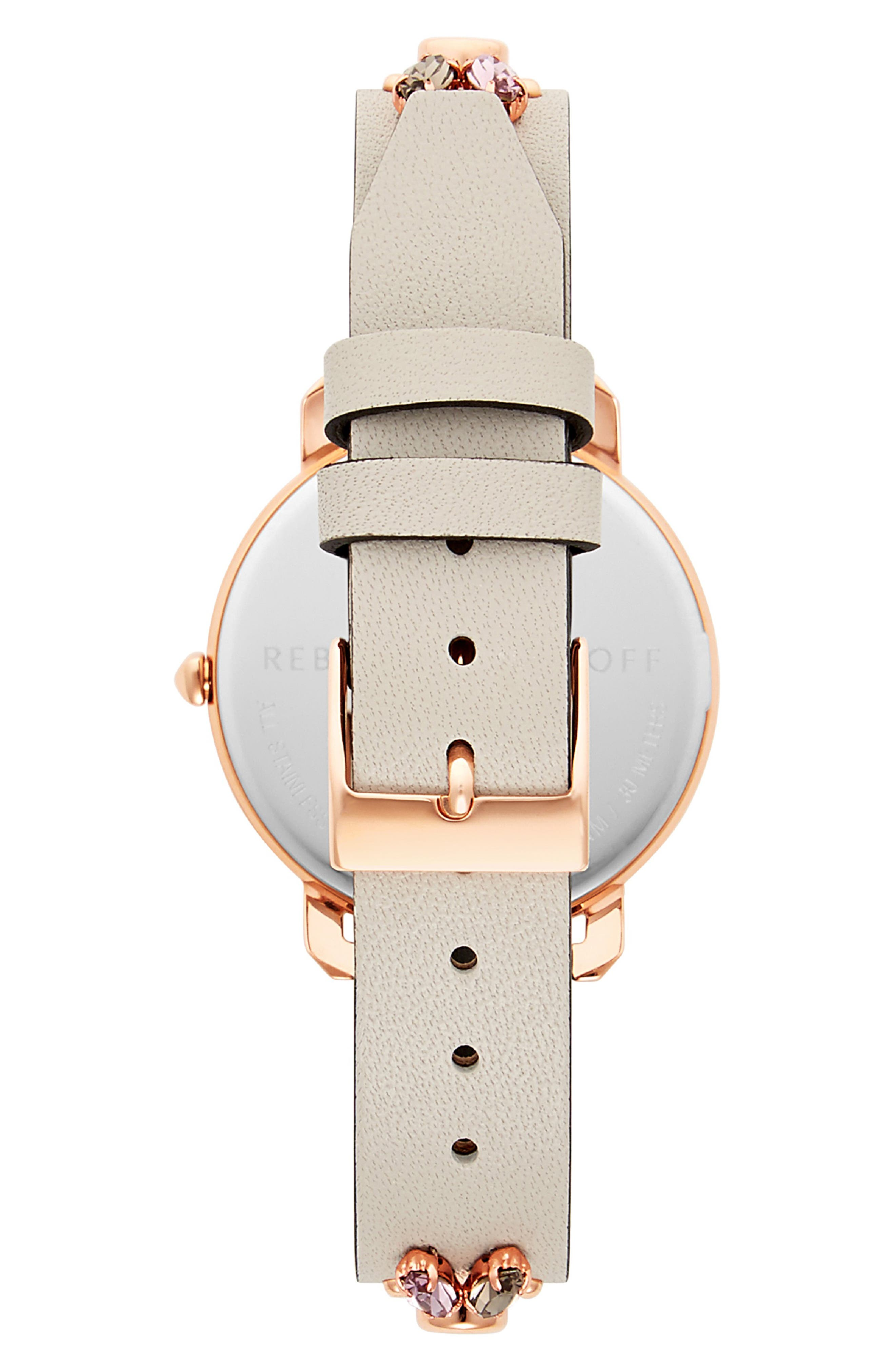 Billie Studded Leather Strap Watch, 34mm,                             Alternate thumbnail 2, color,                             PUTTY/ SILVER/ ROSE GOLD