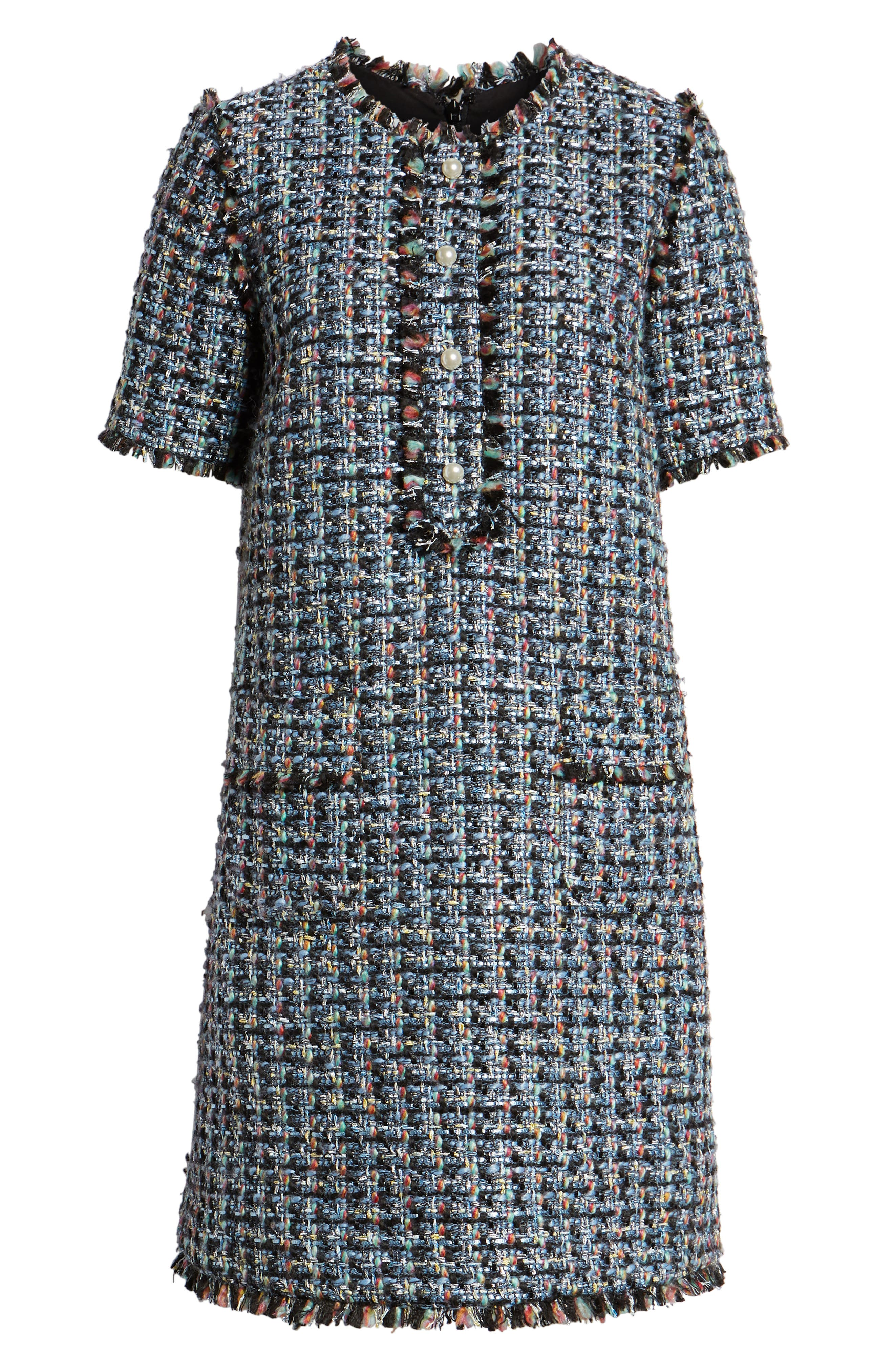 HALOGEN<SUP>®</SUP>,                             x Atlantic-Pacific Fringe Tweed Dress,                             Alternate thumbnail 8, color,                             001