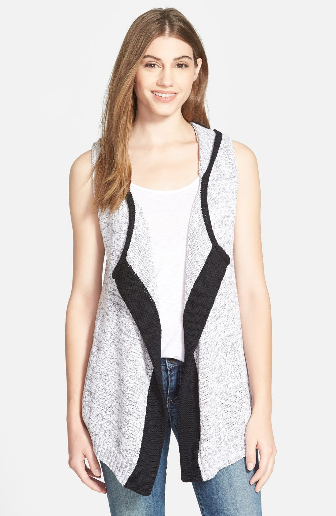Hooded Open Front Vest,                         Main,                         color, 100