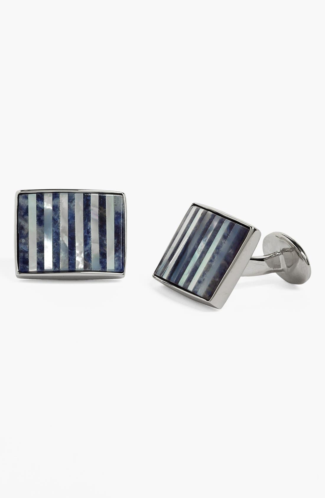 Mother of Pearl & Sodalite Cuff Links,                         Main,                         color, SILVER/ MOTHER OF PEARL