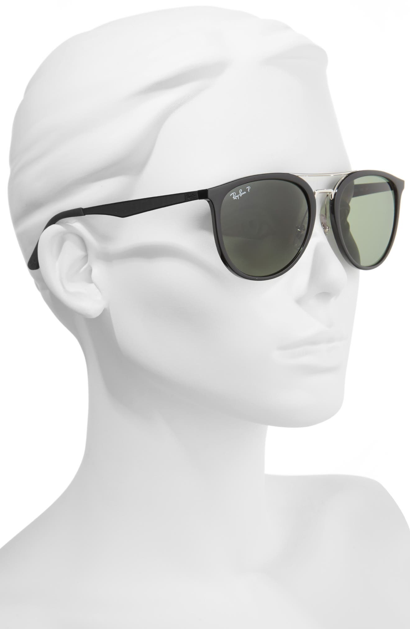 55mm Polarized Sunglasses,                             Alternate thumbnail 2, color,                             BLACK