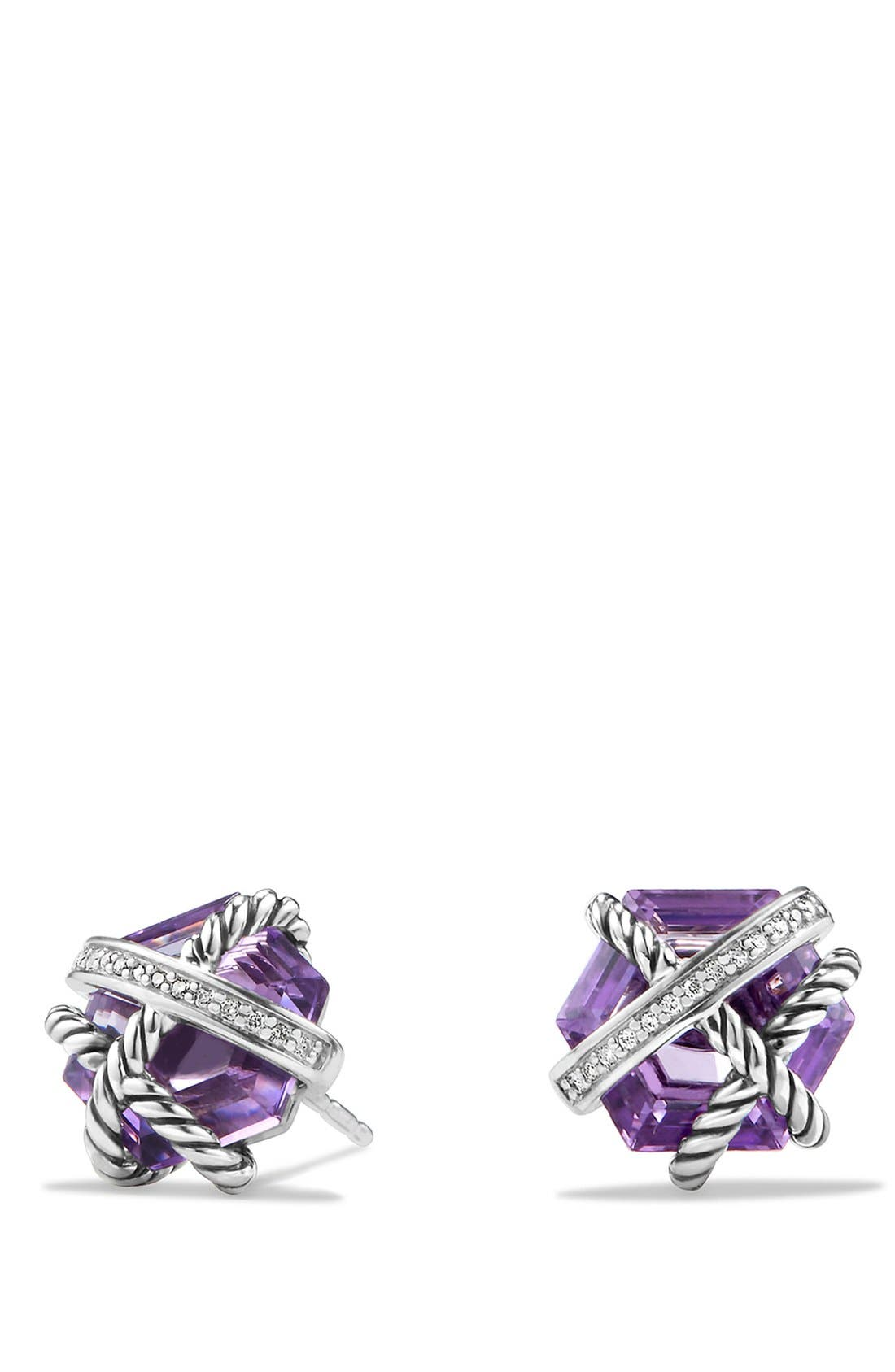 'Cable Wrap' Earrings with Semiprecious Stones & Diamonds, Main, color, AMETHYST