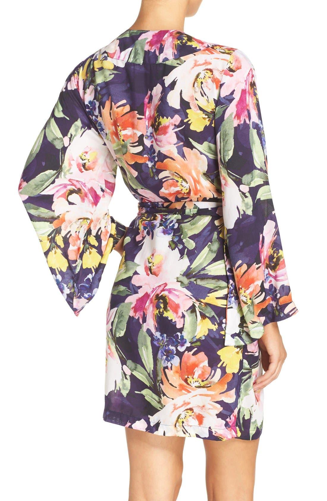 Floral Print Kimono Robe,                             Alternate thumbnail 3, color,