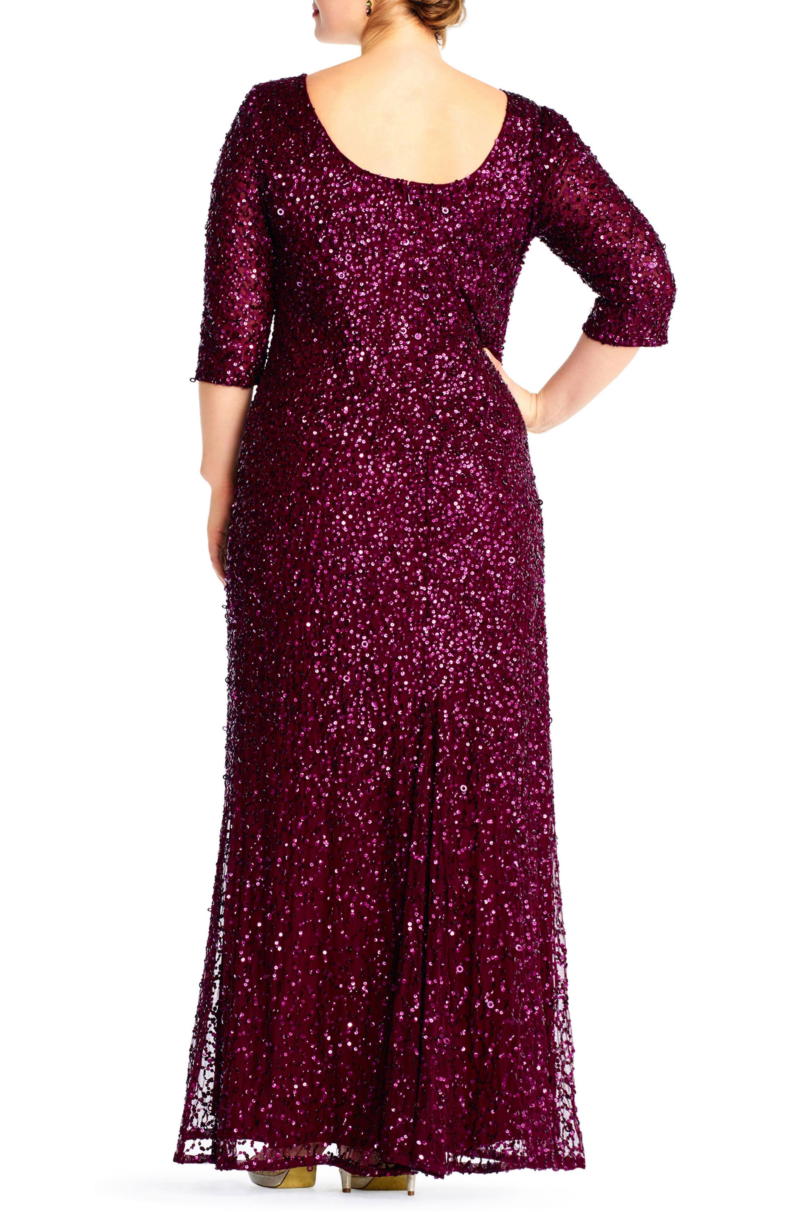 Embellished Scoop Back Gown,                             Alternate thumbnail 2, color,                             CABERNET
