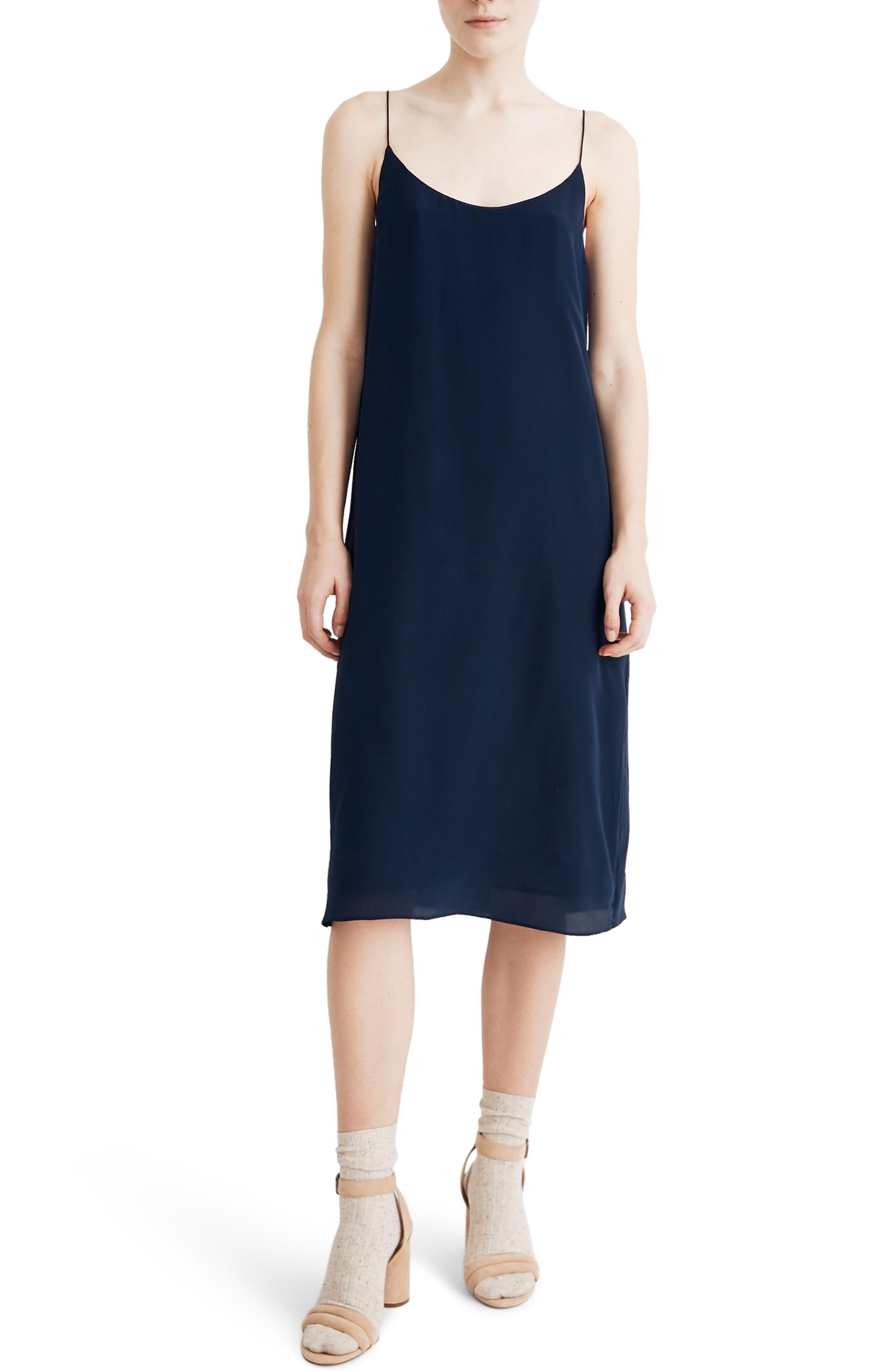 Madewell Tie Back Silk Slipdress, Blue
