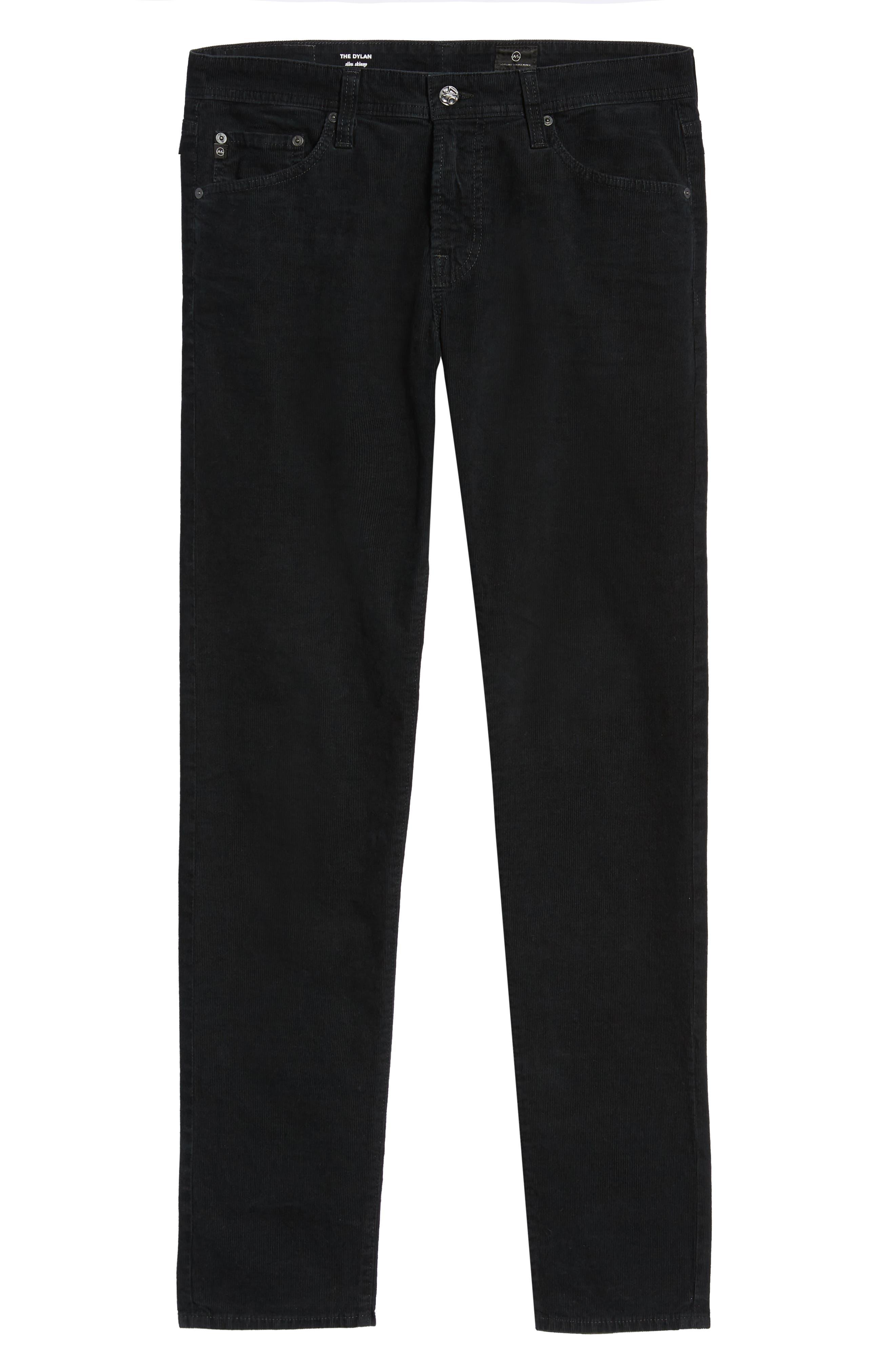 Dylan Skinny Fit Corduroy Pants,                             Alternate thumbnail 6, color,                             SULFUR ASH BLACK