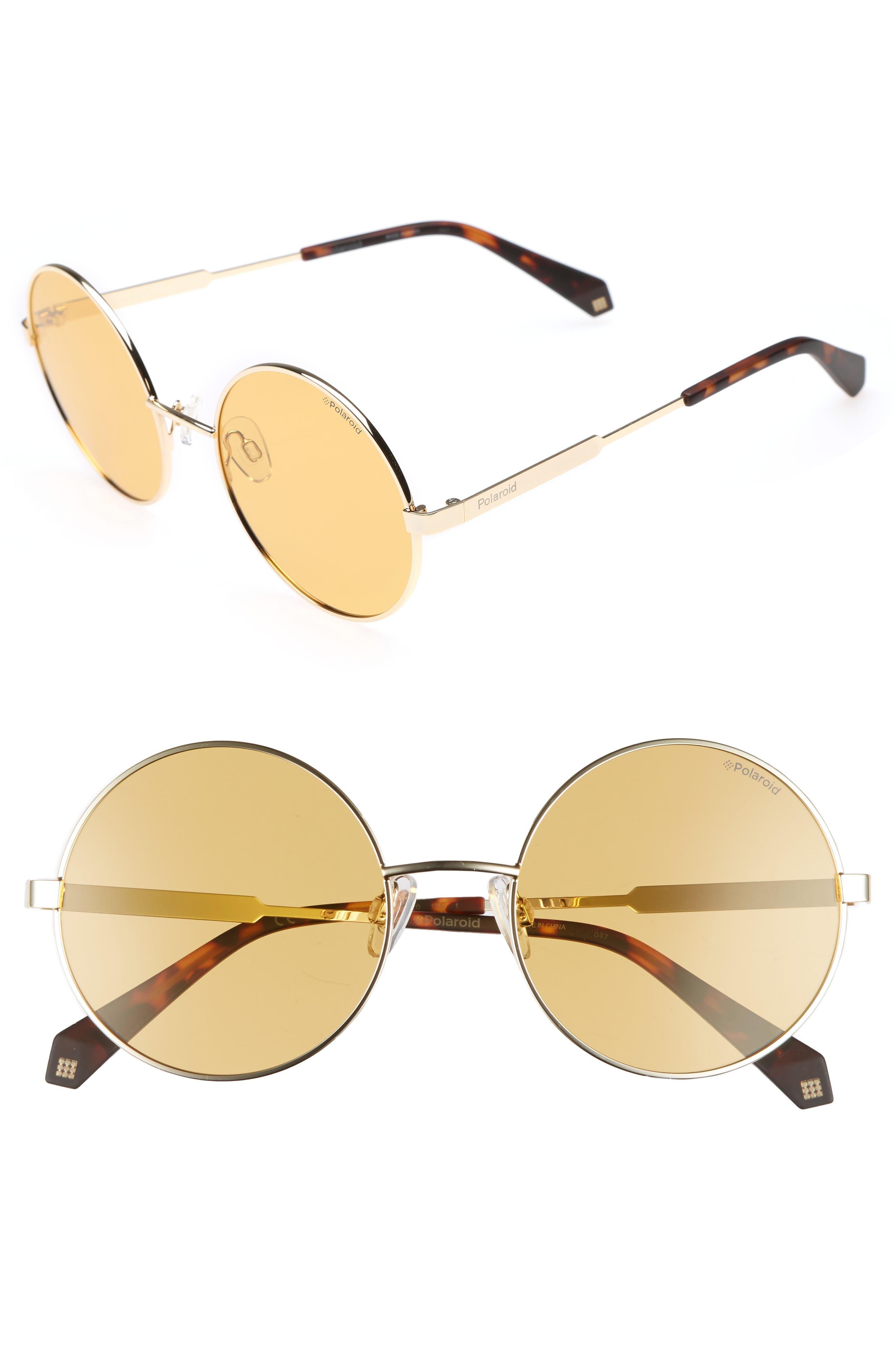 55mm Polarized Round Sunglasses,                             Main thumbnail 4, color,