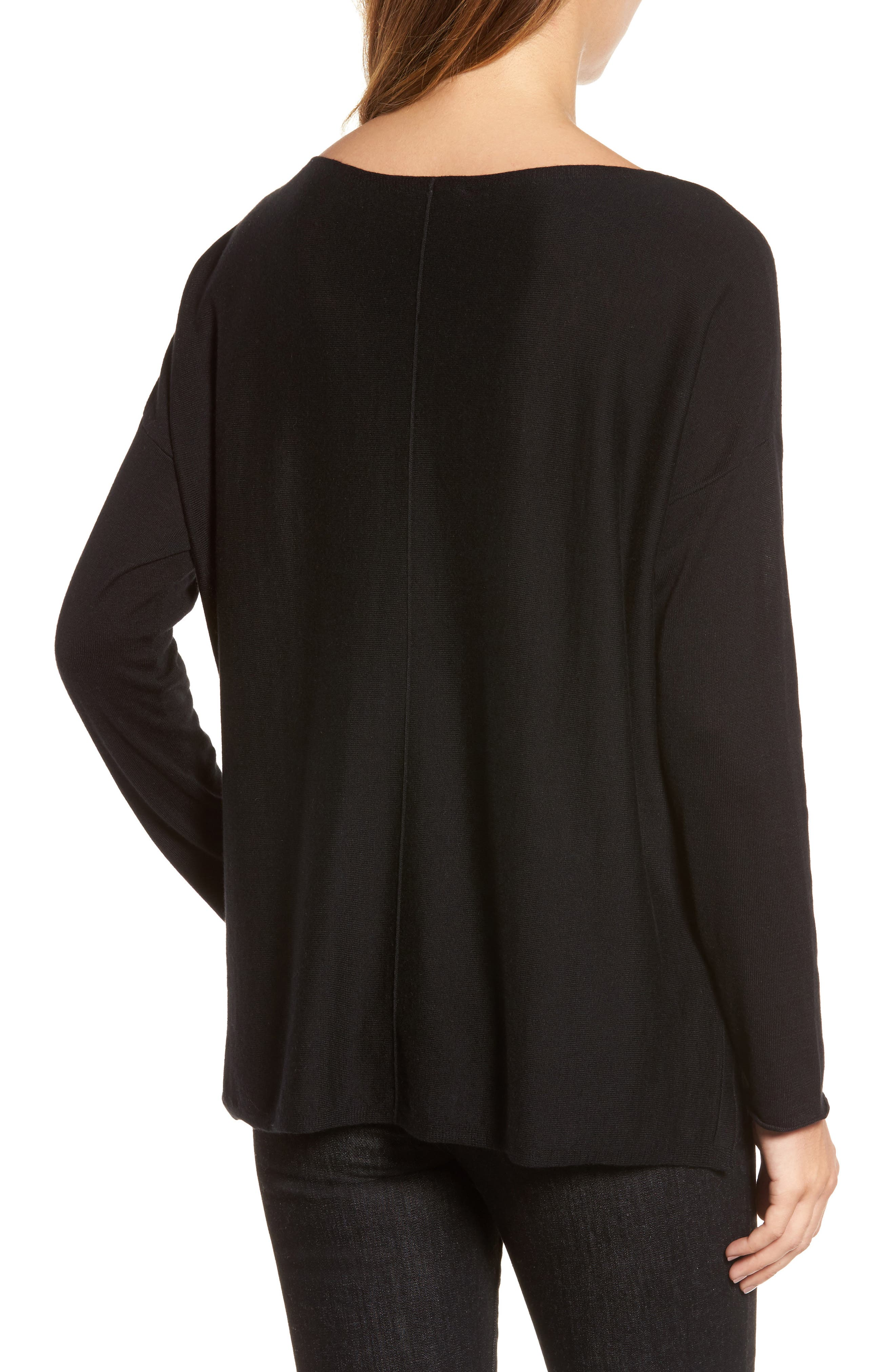 Tencel<sup>®</sup> Lyocell Blend High/Low Sweater,                             Alternate thumbnail 2, color,                             001