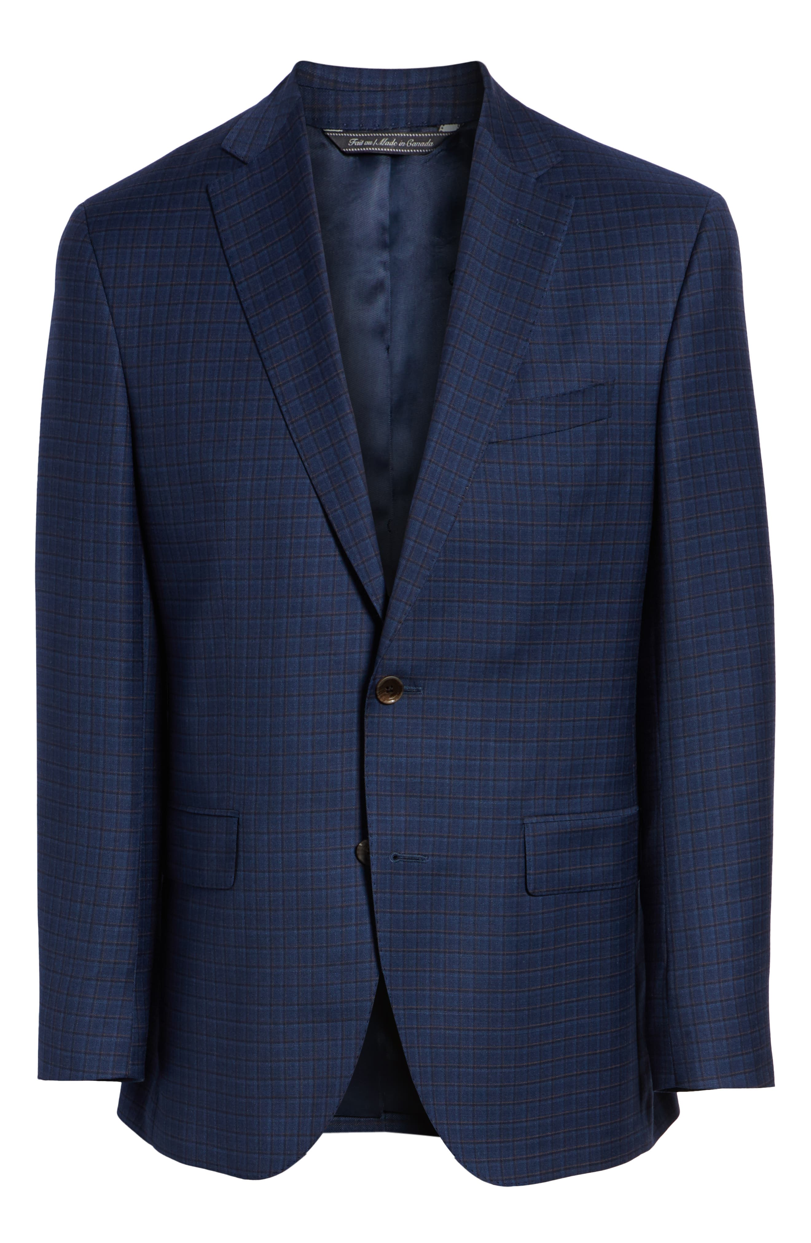 Connor Classic Fit Check Wool Sport Coat,                             Alternate thumbnail 5, color,                             BLUE