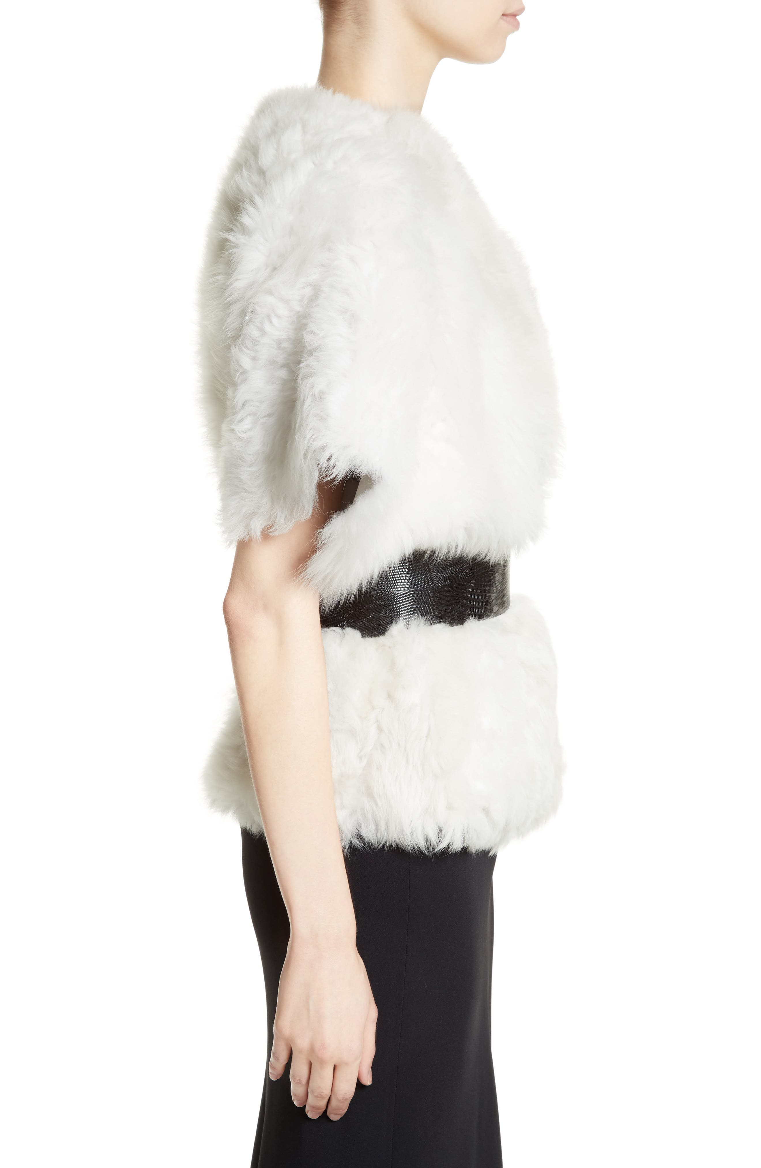 Fiorigi Genuine Lamb Fur Bolero,                             Alternate thumbnail 3, color,                             100