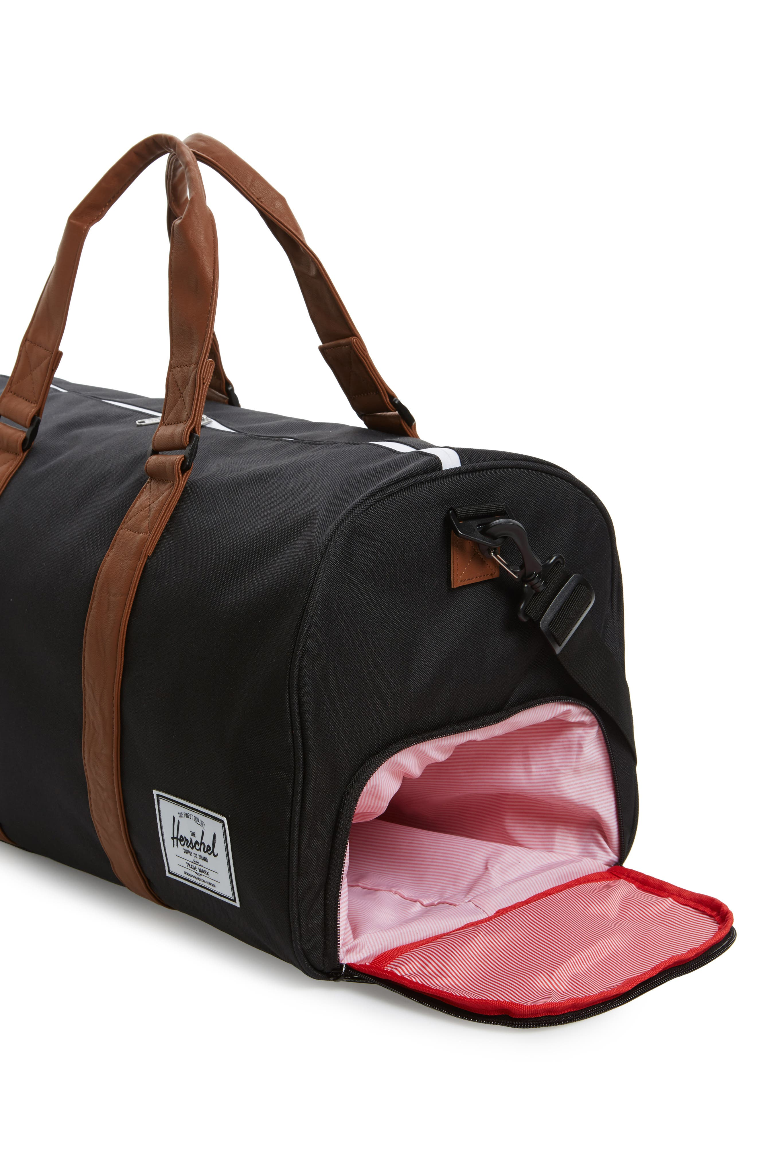 'Novel' Duffel Bag,                             Alternate thumbnail 4, color,                             BLACK/ TAN