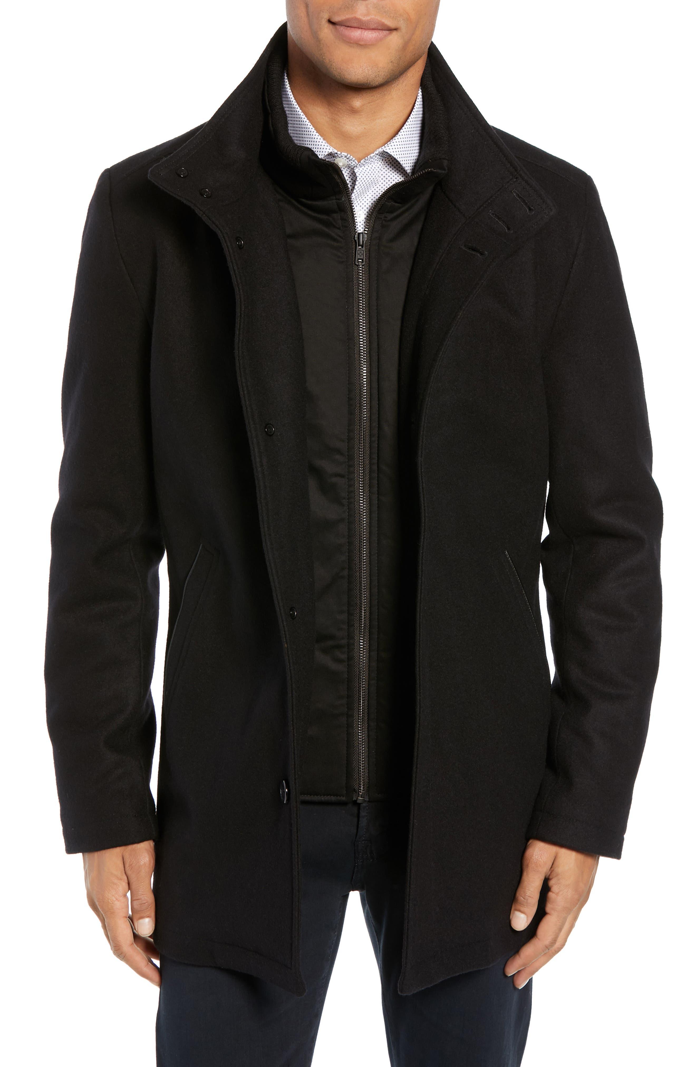Classic Wool Blend Car Coat with Inset Bib,                             Main thumbnail 1, color,                             BLACK