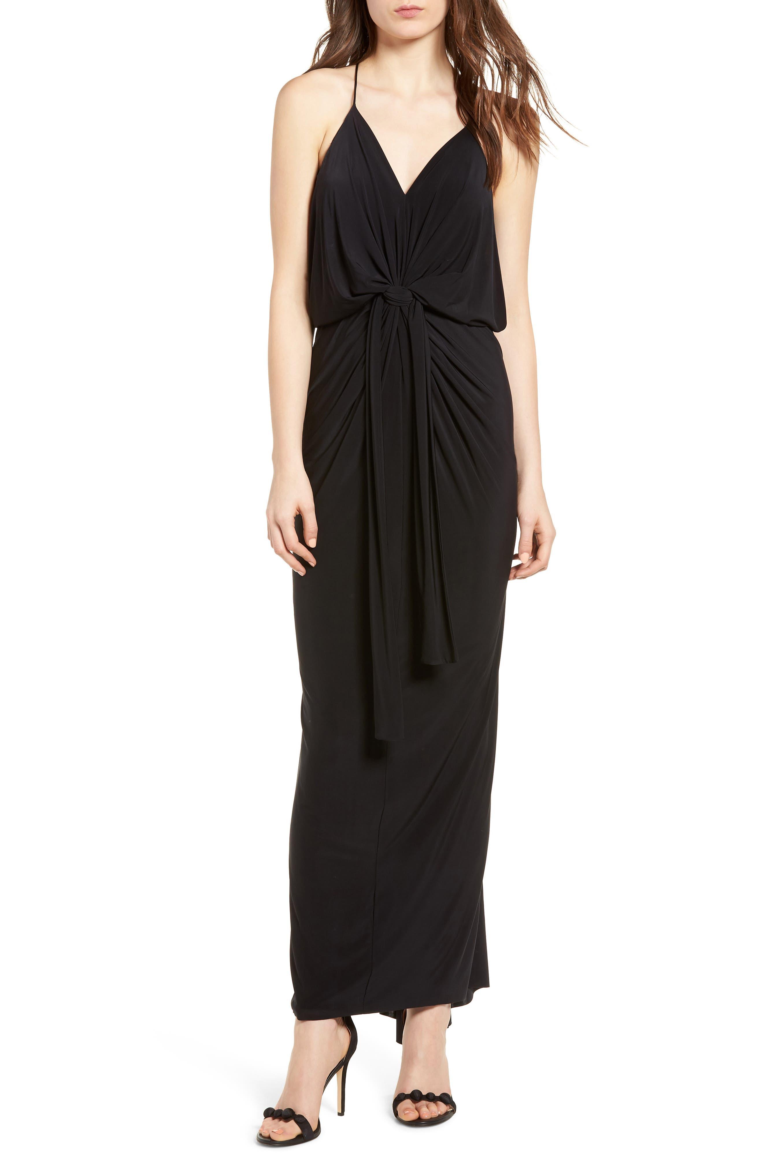 Domino Knot Maxi Dress,                         Main,                         color, BLACK