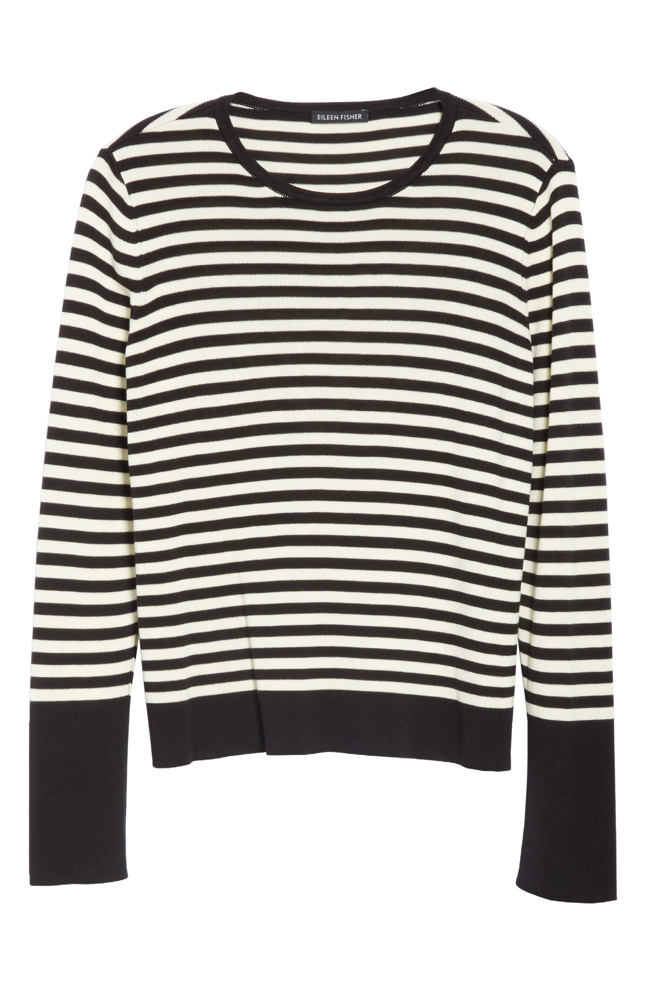 Tencel<sup>®</sup> Lyocell & Silk Sweater,                             Alternate thumbnail 6, color,                             BLACK/ SOFT WHITE