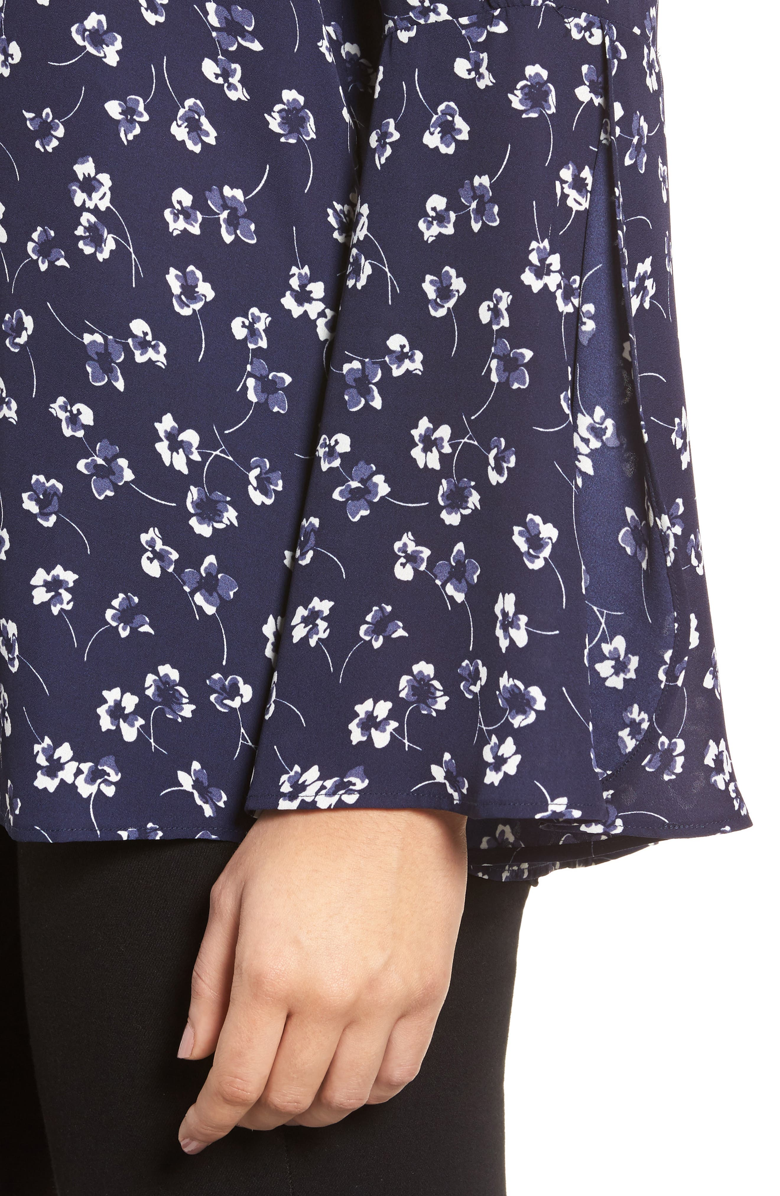 Ditsy Floral Print Bell Sleeve Blouse,                             Alternate thumbnail 4, color,                             429